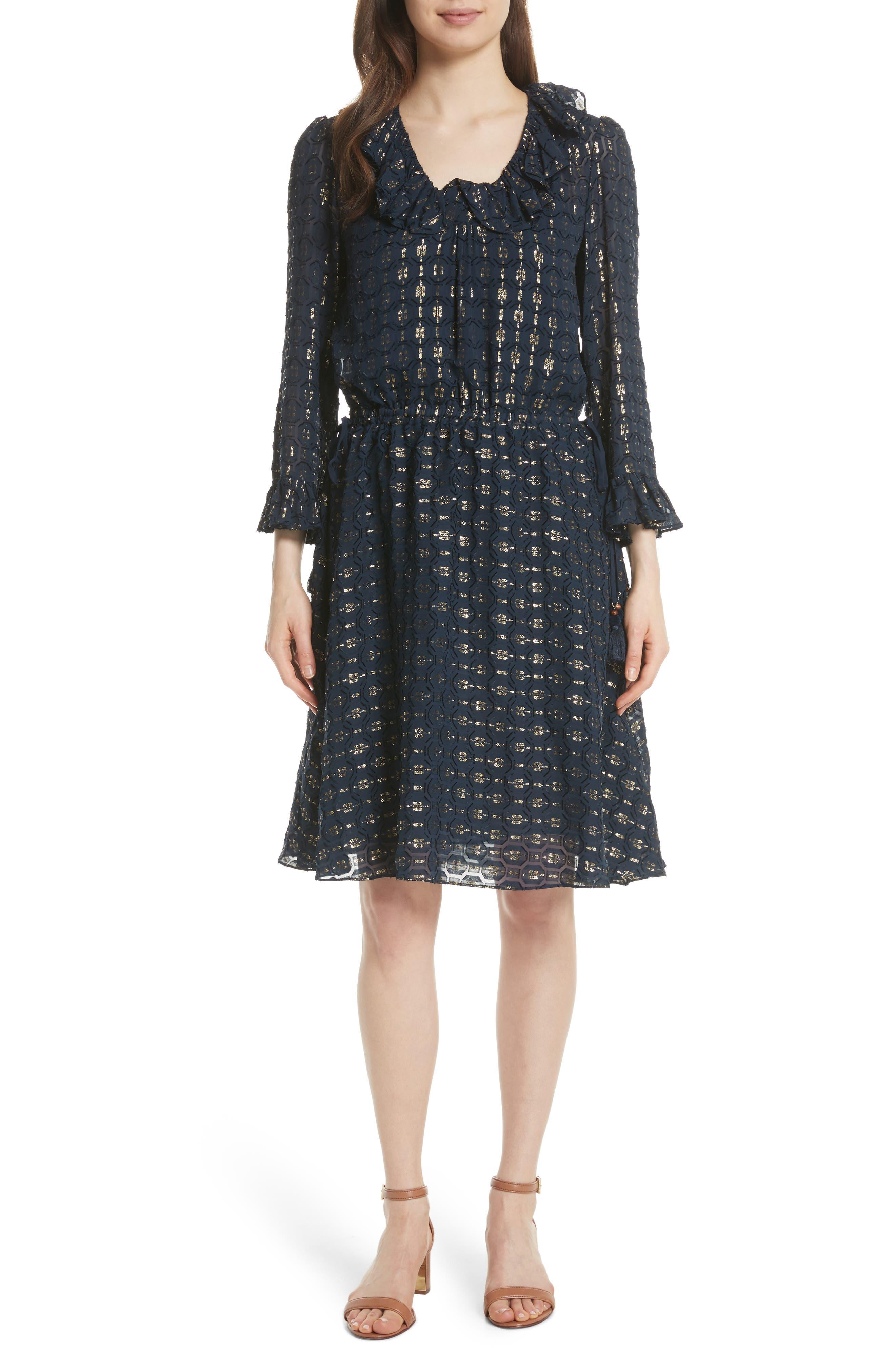 TORY BURCH Jasmine Silk Blend Dress, Main, color, 405