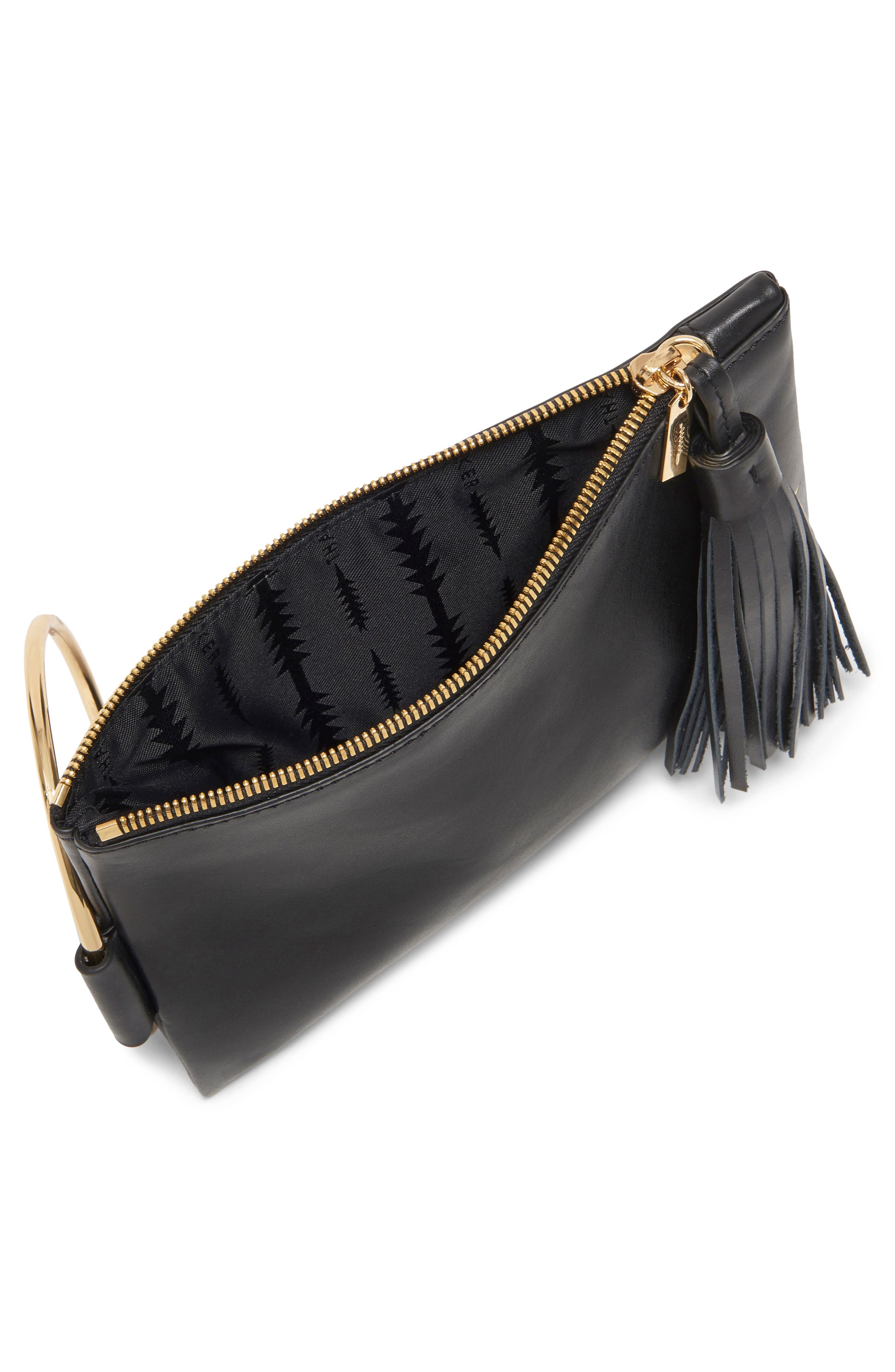 Nolita Ring Handle Leather Clutch,                             Alternate thumbnail 3, color,                             001