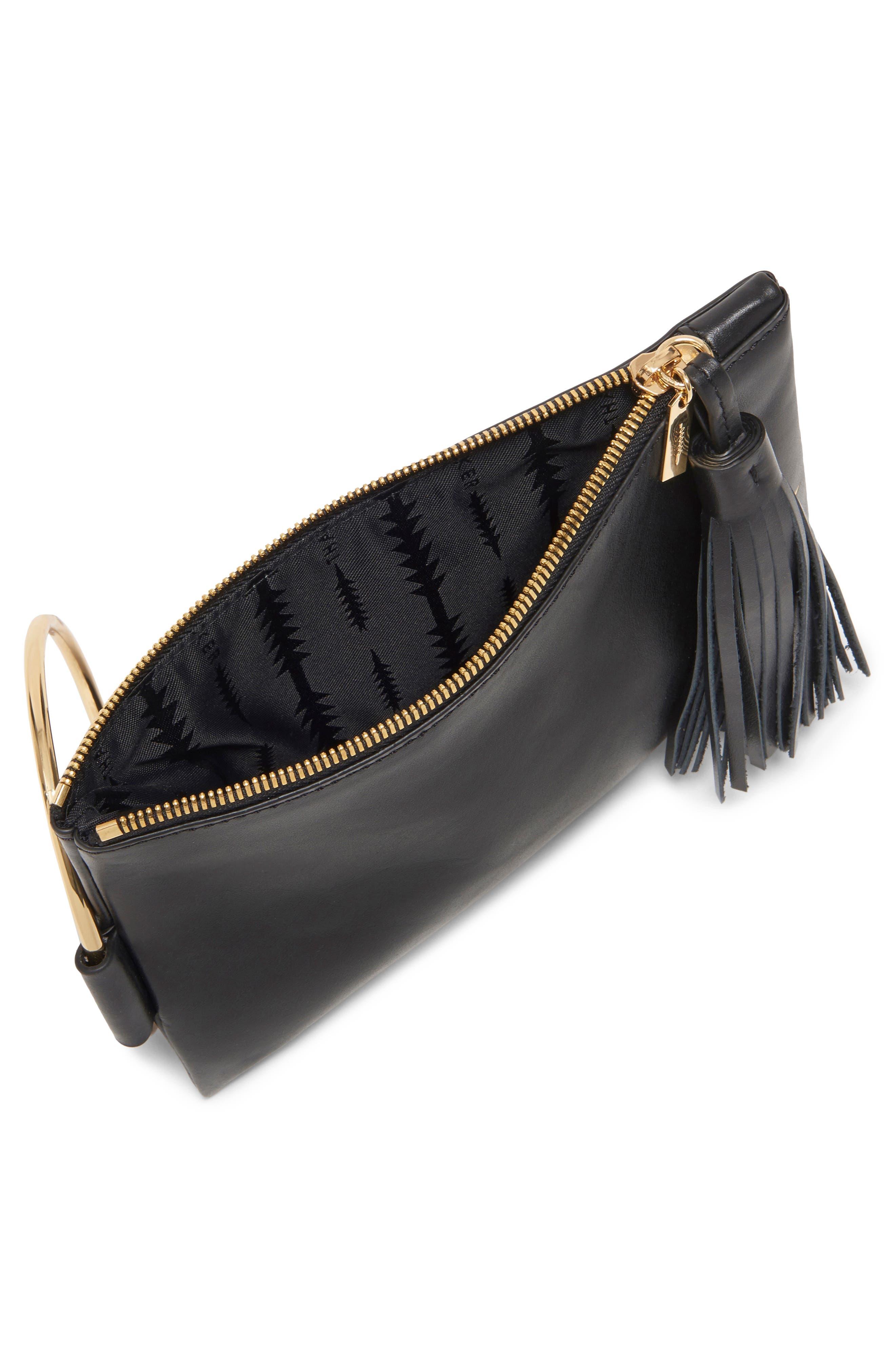 Nolita Ring Handle Leather Clutch,                             Alternate thumbnail 3, color,                             BLACK GOLD