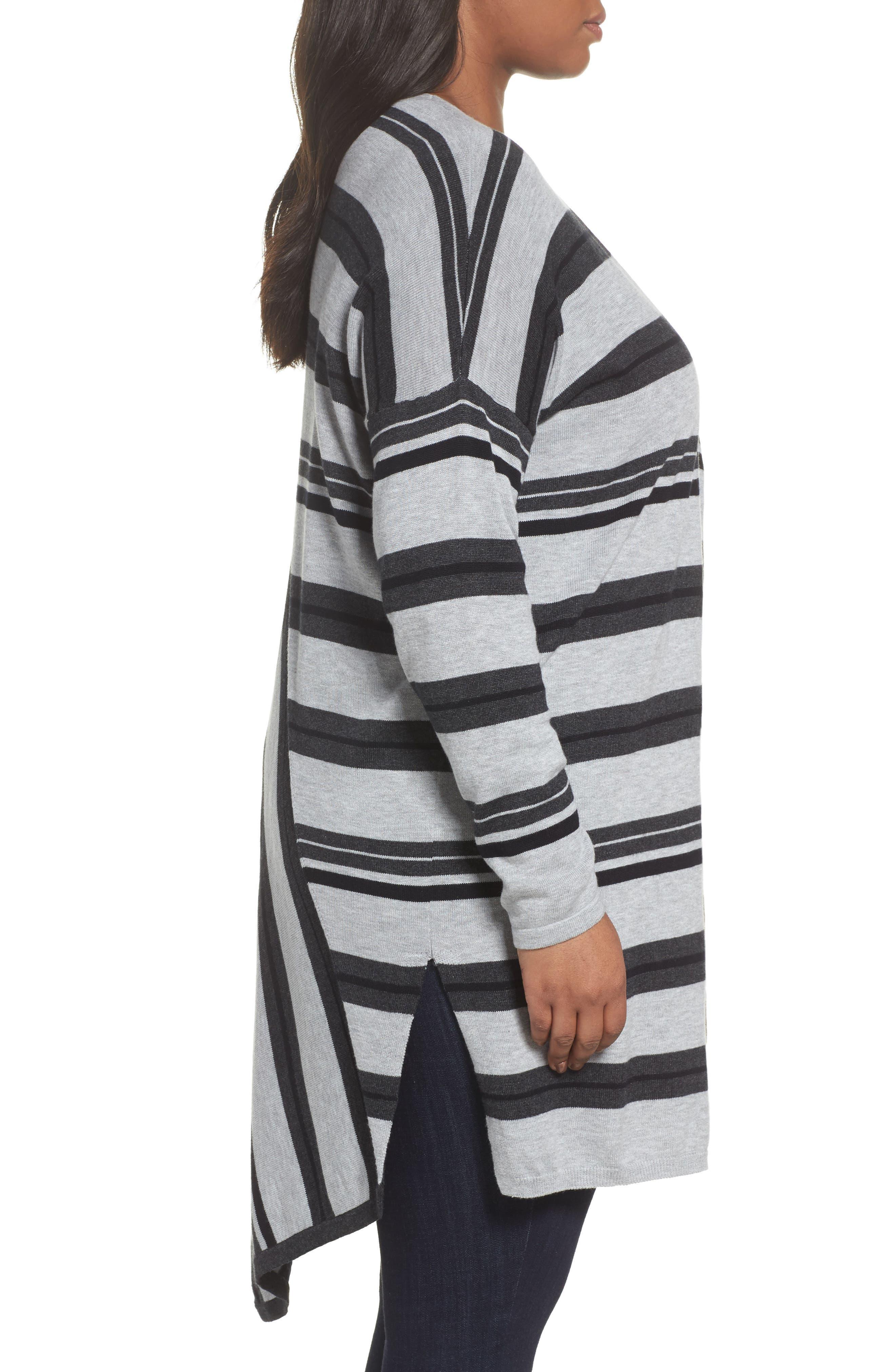 Long Stripe Cardigan,                             Alternate thumbnail 3, color,                             028