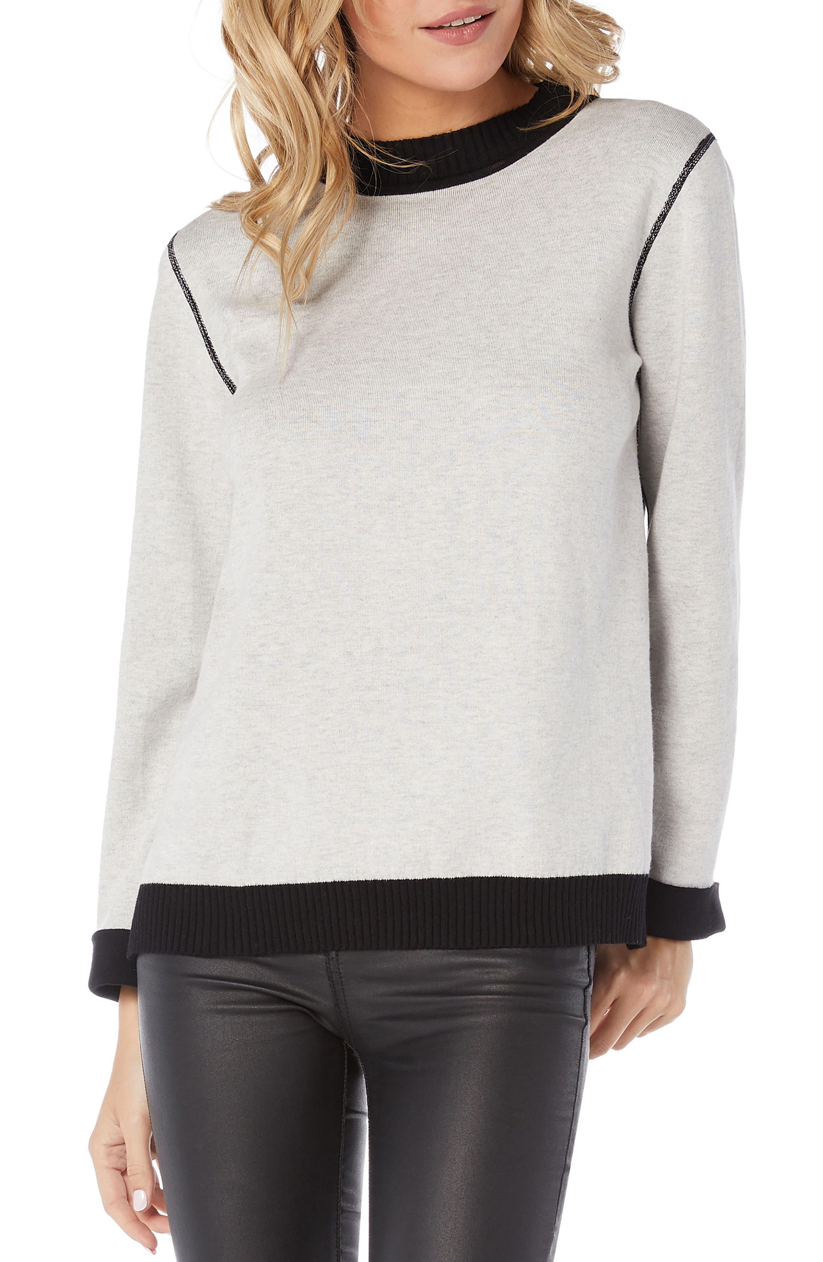 MICHAEL STARS Reversible Sweatshirt in Black/ Chalk