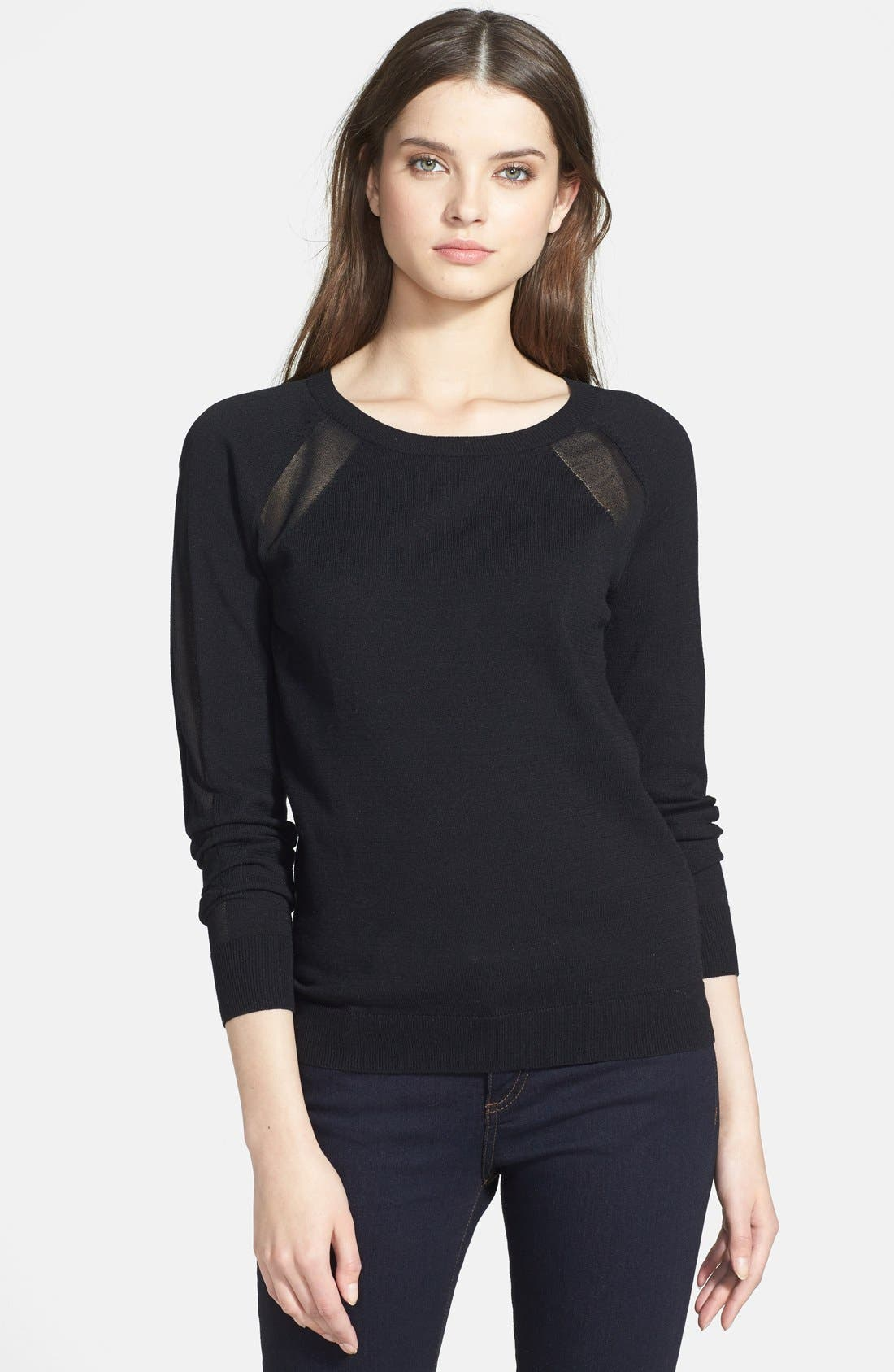 HALOGEN<SUP>®</SUP>,                             Semi-Sheer Inset Sweater,                             Main thumbnail 1, color,                             001