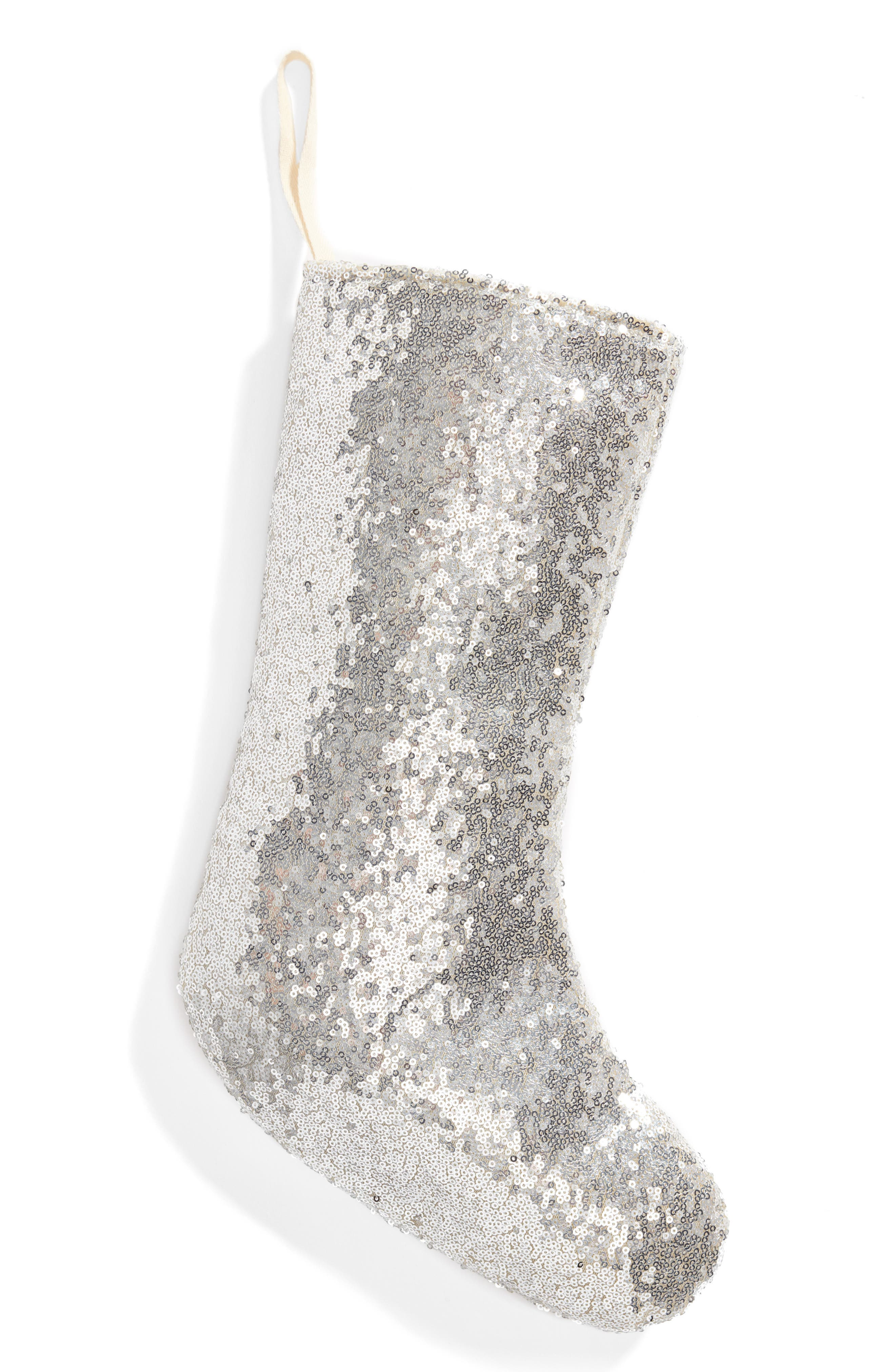 Sequin Stocking,                             Main thumbnail 1, color,                             SILVER