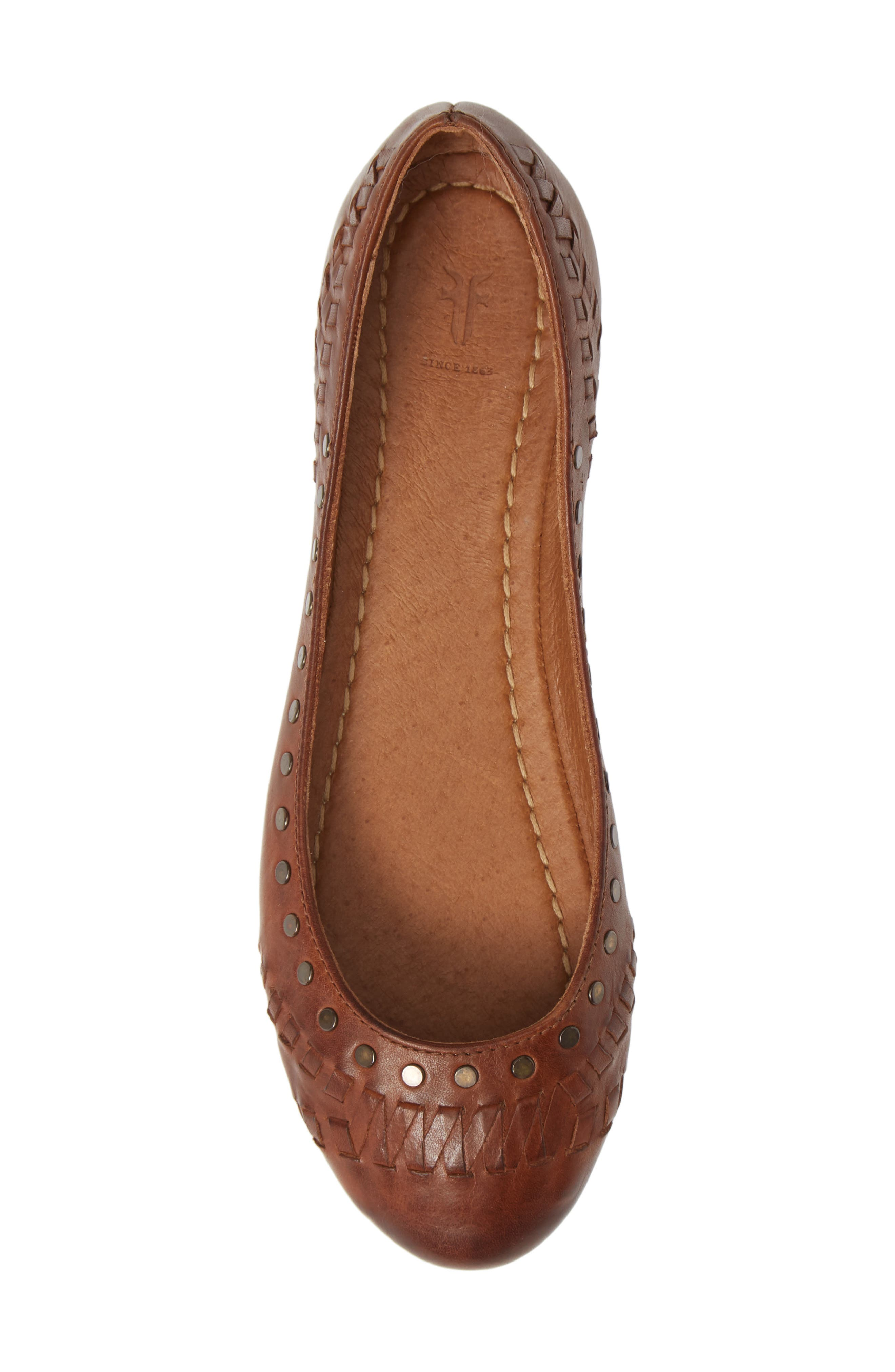Carson Whipstitch Ballet Flat,                             Alternate thumbnail 5, color,                             COGNAC LEATHER
