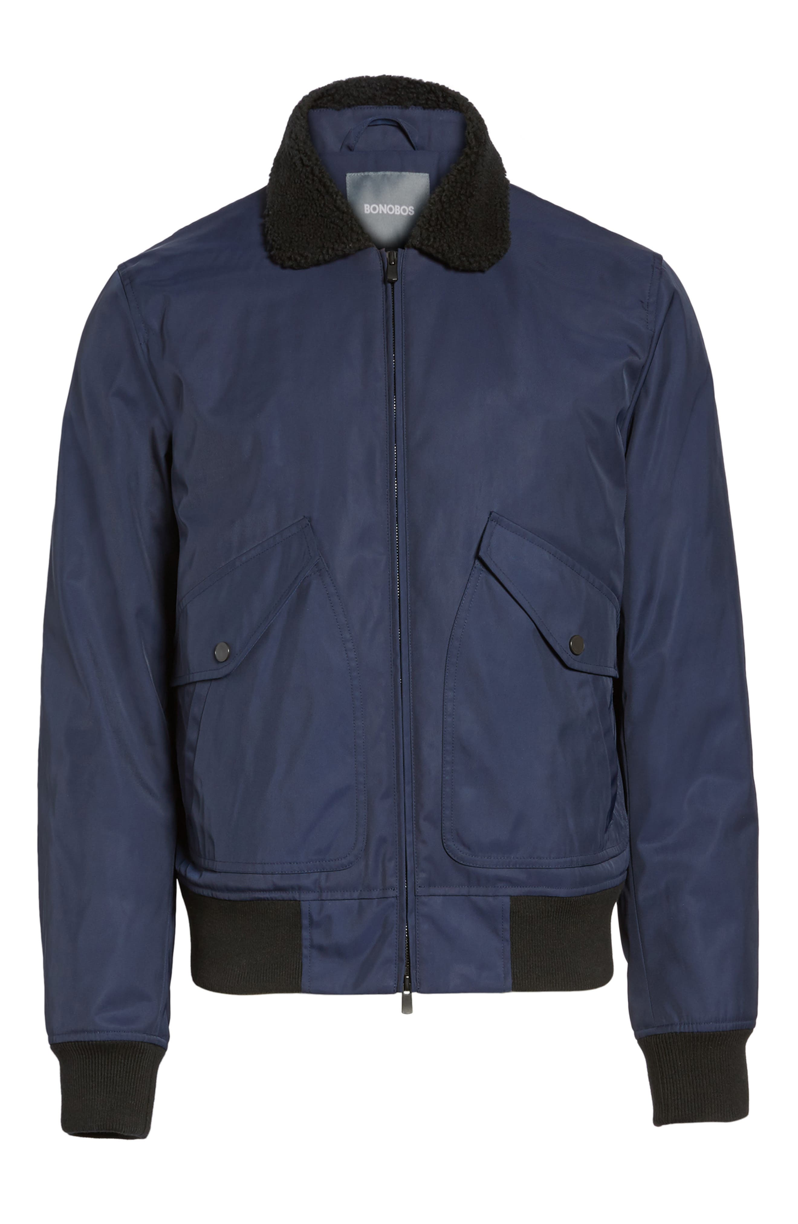 Faux Shearling Trim Bomber Jacket,                             Alternate thumbnail 5, color,