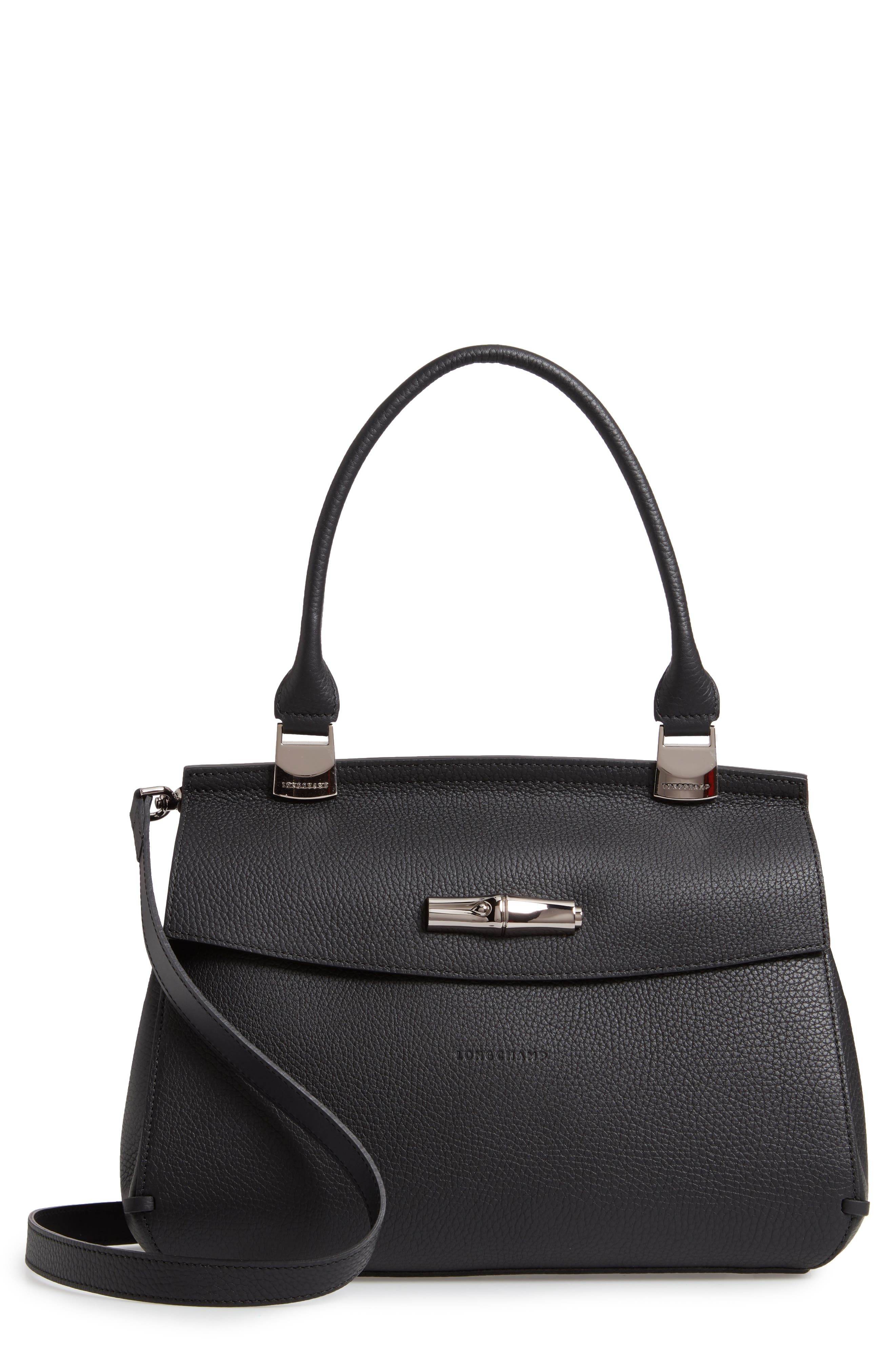 LONGCHAMP Madeleine Leather Satchel, Main, color, BLACK