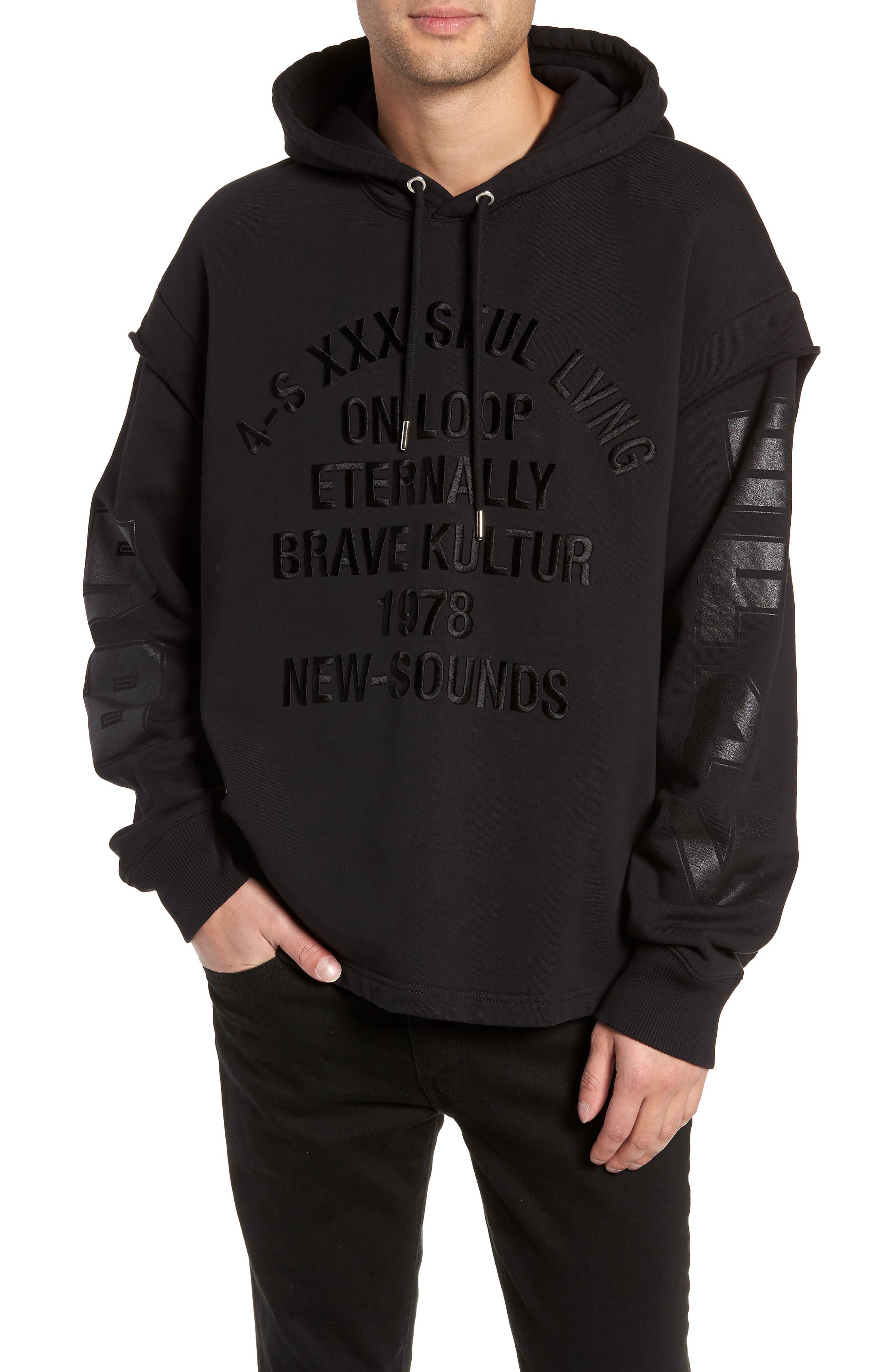 S-DRIVE-LS-XA Embroidered Hooded Sweatshirt,                         Main,                         color, BLACK