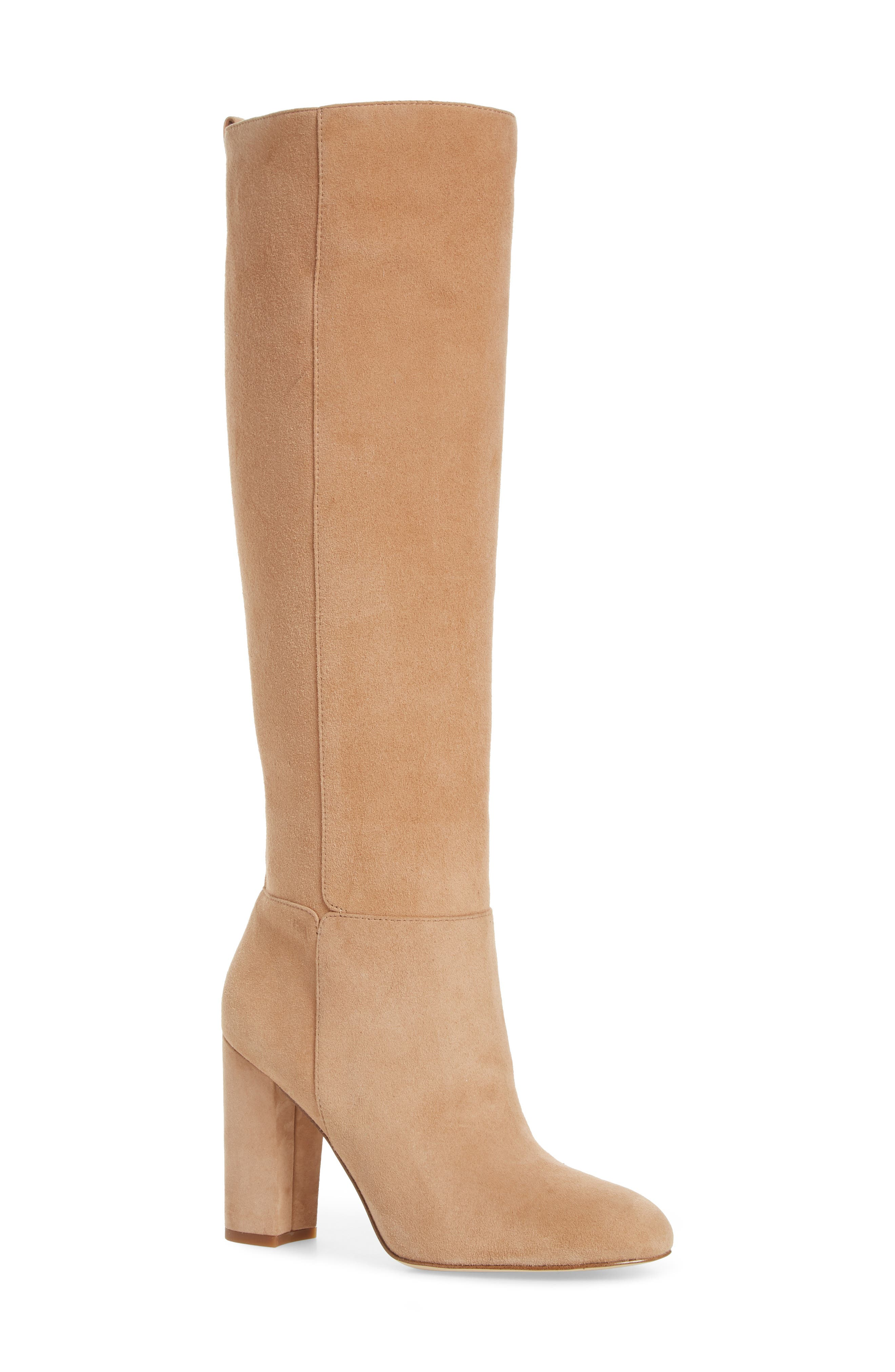 Caprice Knee-High Boot,                             Main thumbnail 1, color,                             GOLDEN CARAMEL SUEDE