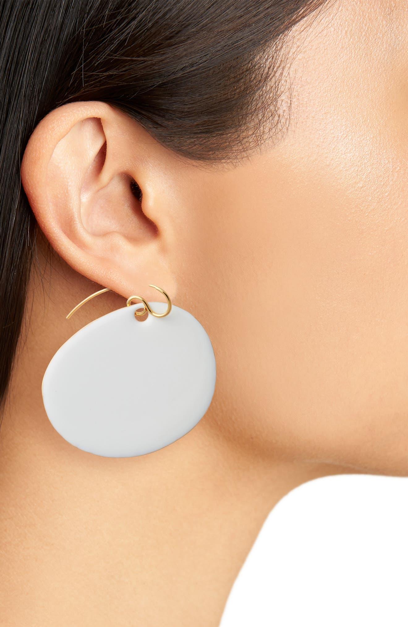 Flat Disc Earrings,                             Alternate thumbnail 6, color,