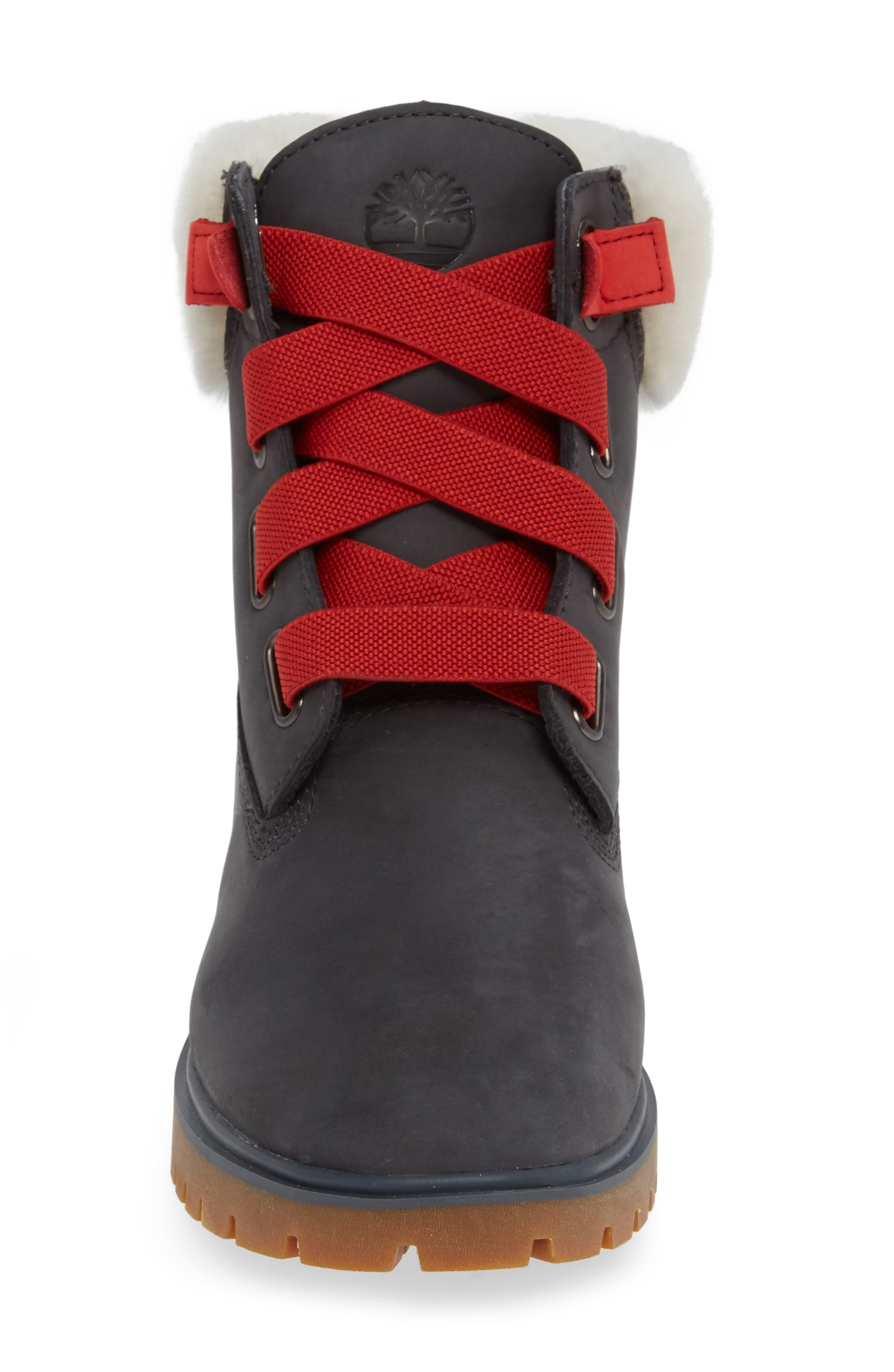 Convenience Waterproof Boot with Genuine Shearling Trim,                             Alternate thumbnail 4, color,                             065