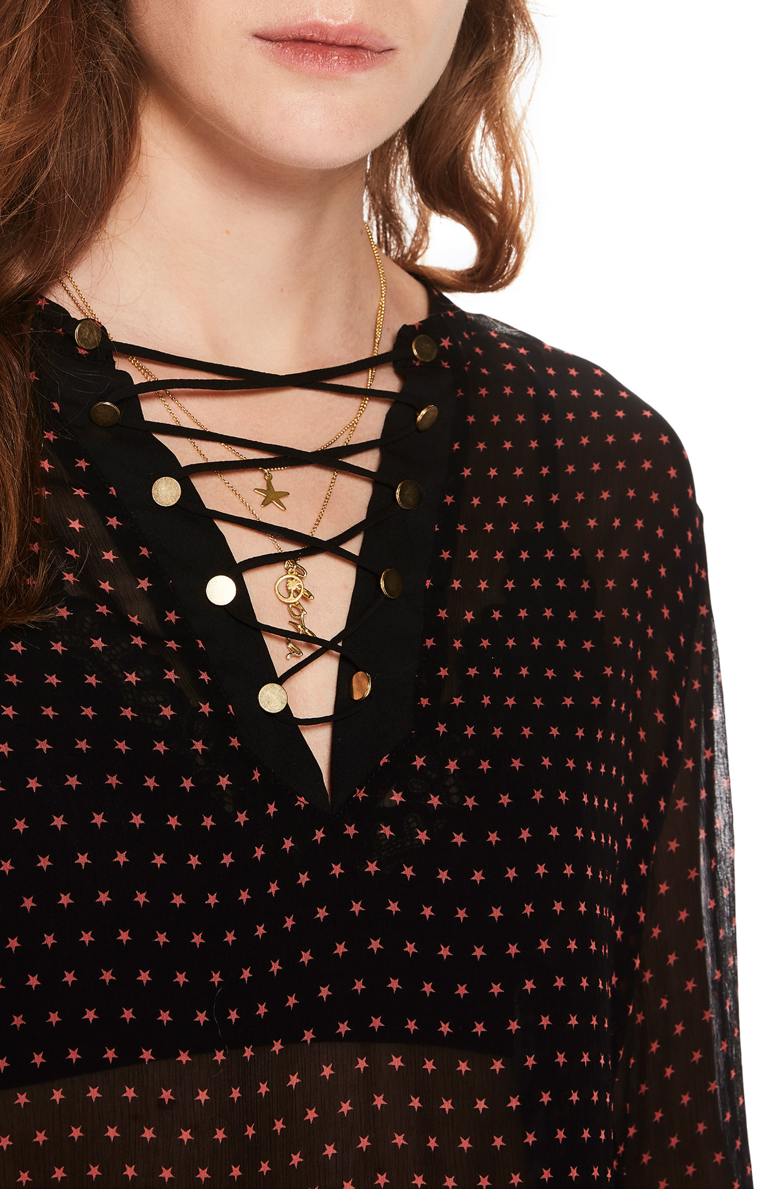 Lace-Up Star Print Blouse,                             Alternate thumbnail 3, color,                             BLACK W/ SMALL STAR