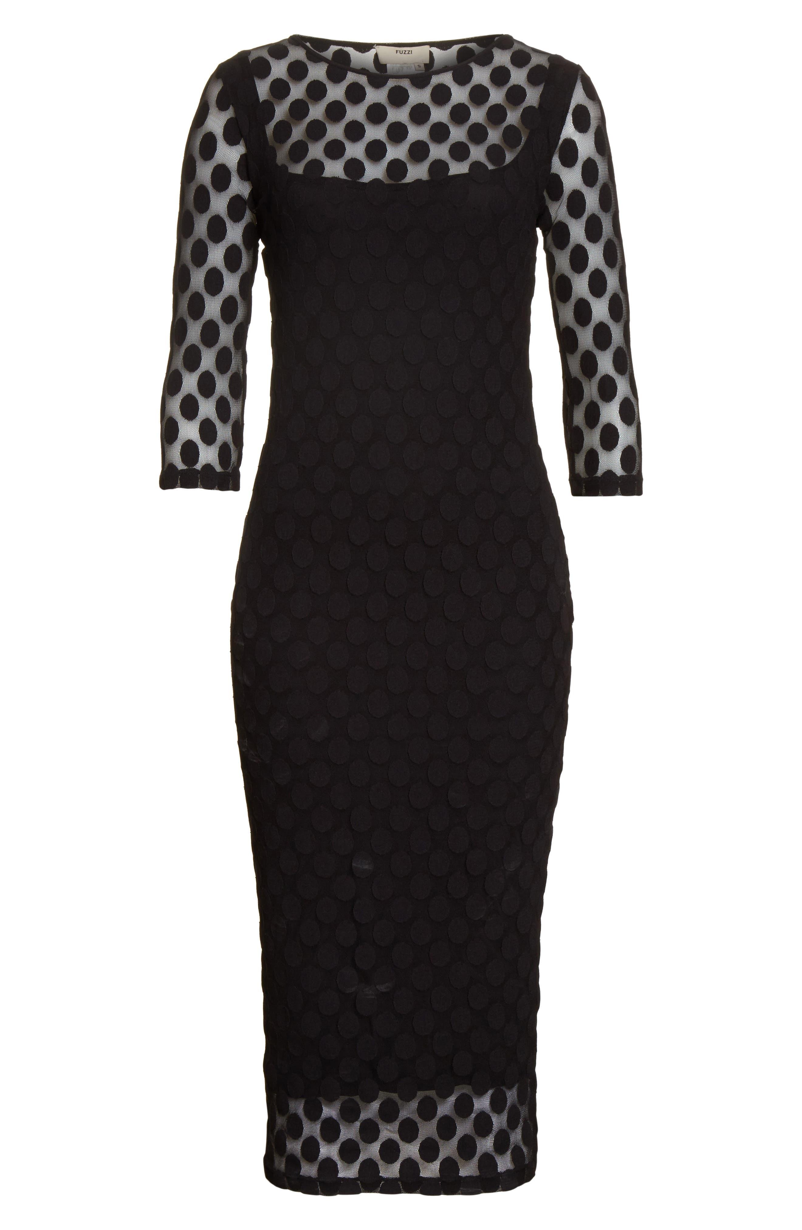 Dot Print Tulle Midi Dress,                             Alternate thumbnail 6, color,                             001