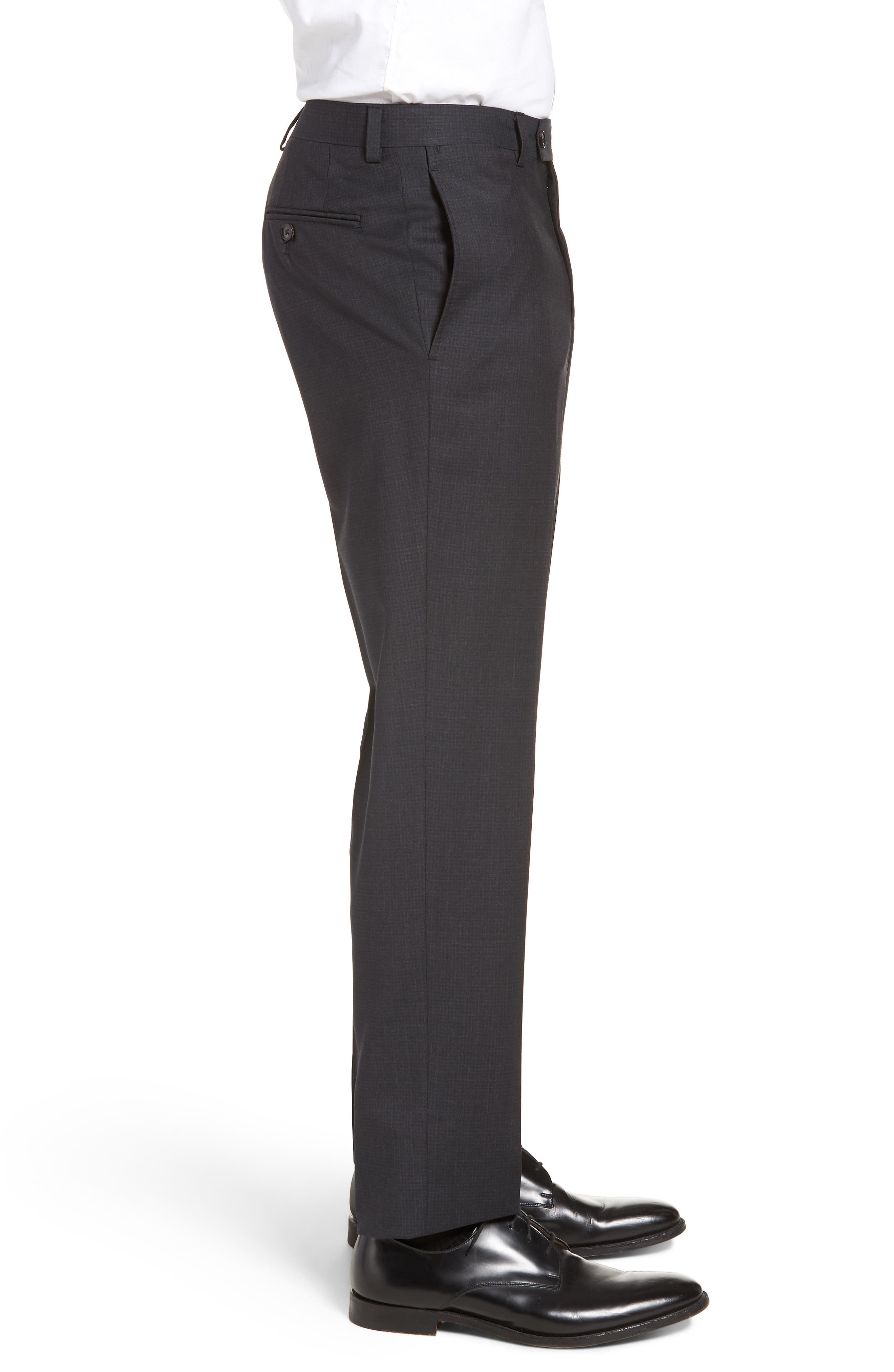 Jefferson Flat Front Check Wool Trousers,                             Alternate thumbnail 3, color,                             BROWN