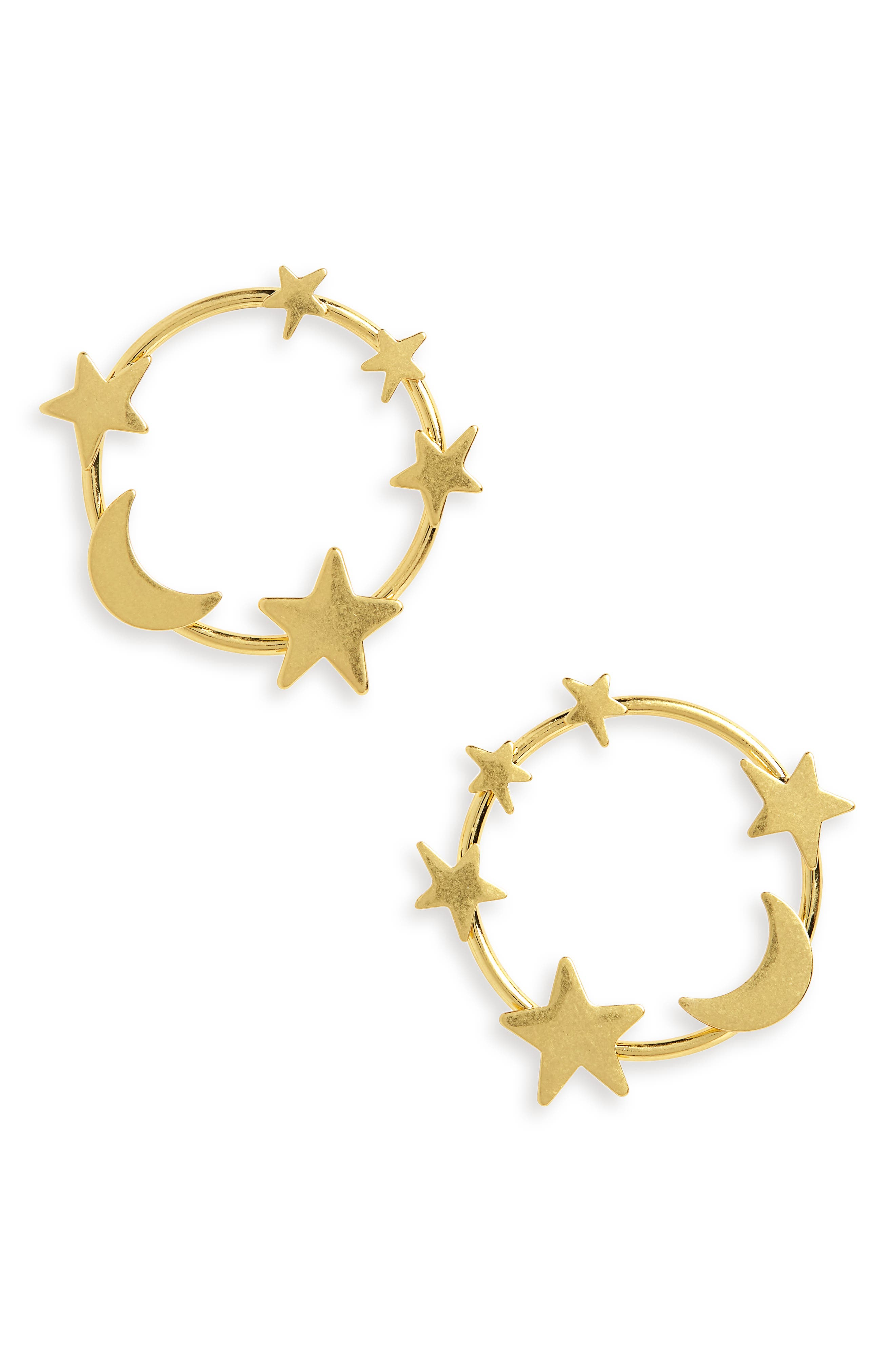 Star & Moon Hoop Earrings,                             Main thumbnail 1, color,                             VINTAGE GOLD