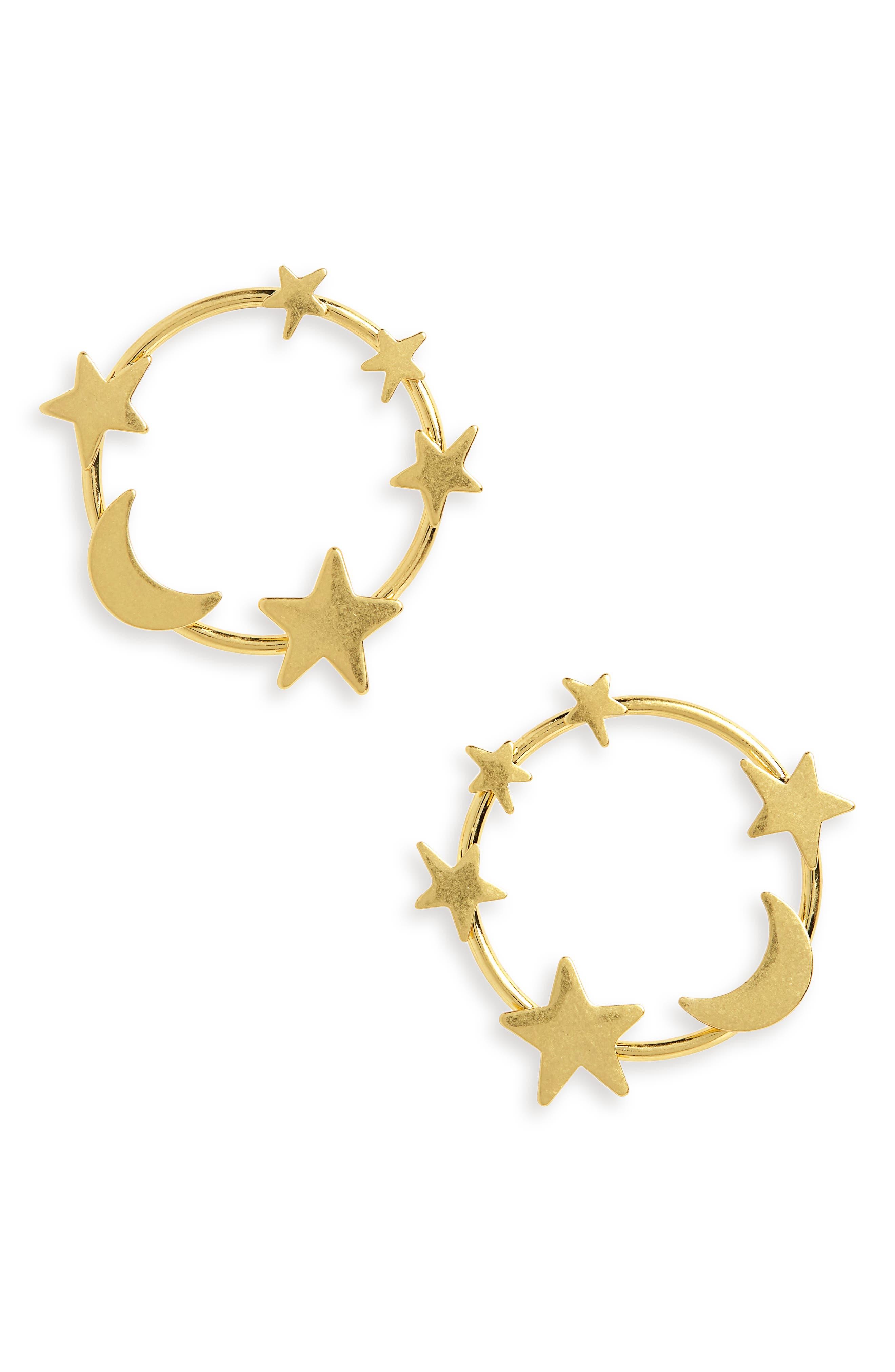 Star & Moon Hoop Earrings,                         Main,                         color, VINTAGE GOLD