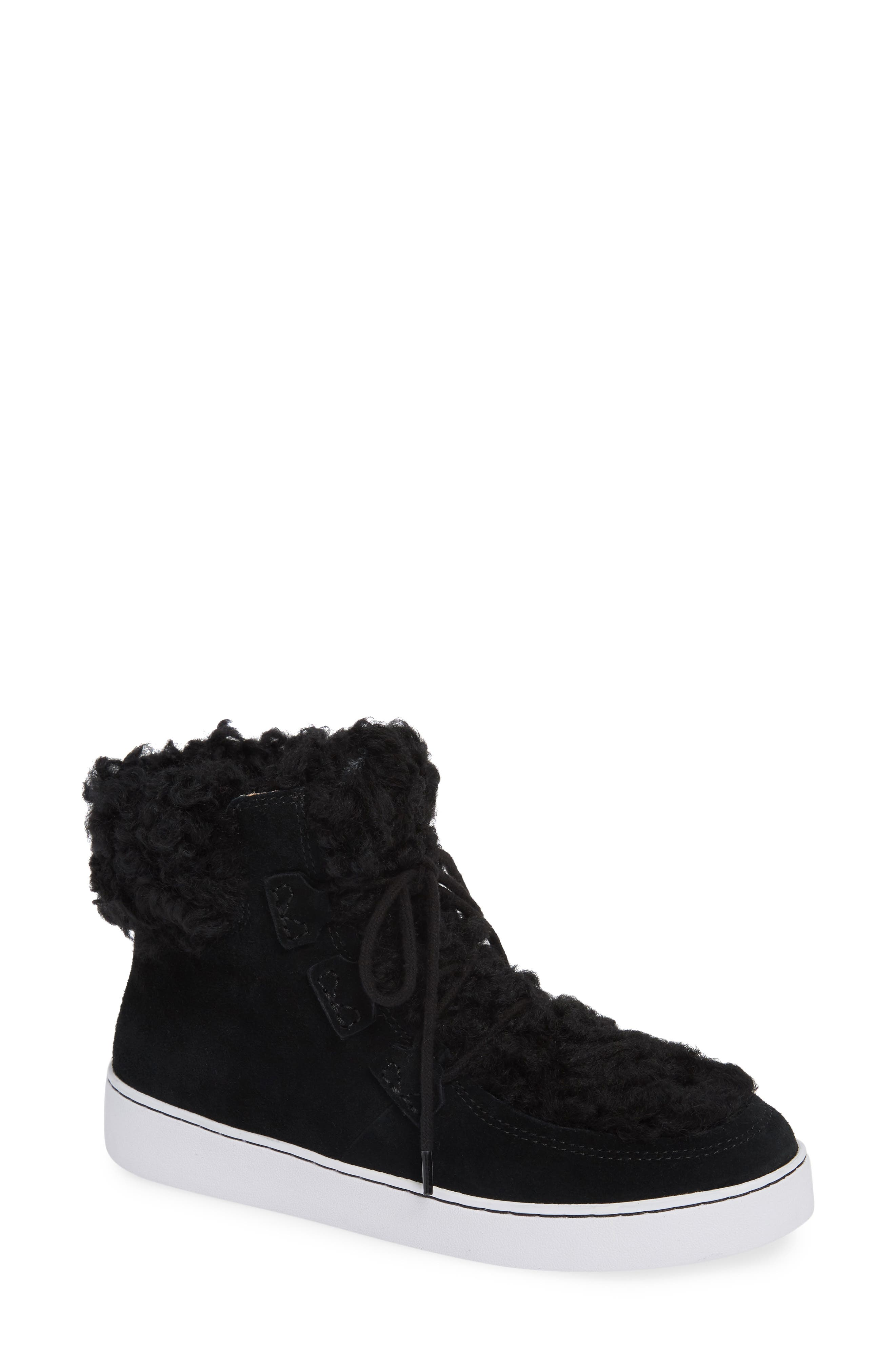 Oak Genuine Shearling Cuff Sneaker Bootie,                             Main thumbnail 1, color,                             BLACK SUEDE