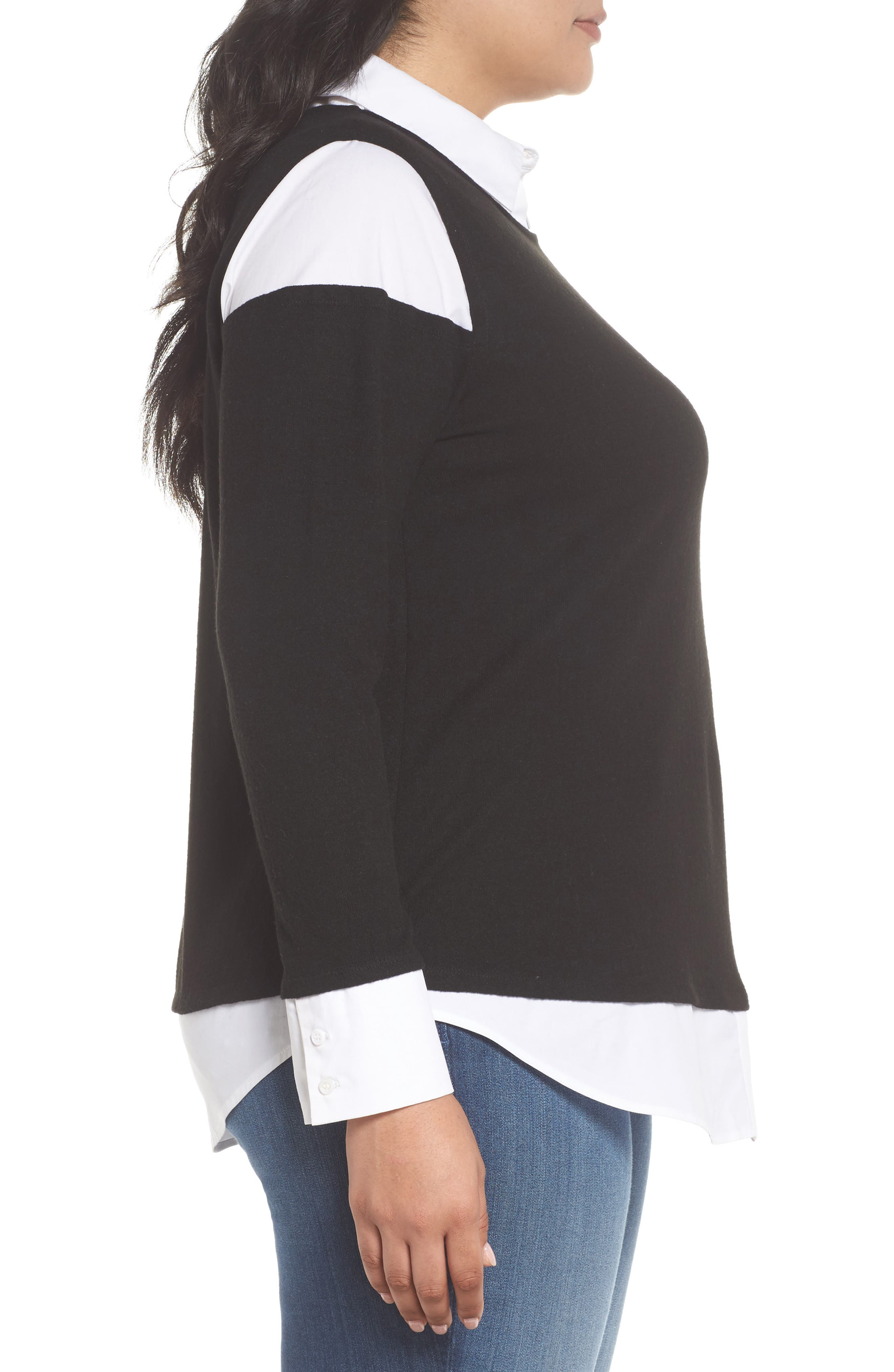 Mix Media Brushed Jersey Top,                             Alternate thumbnail 3, color,                             006