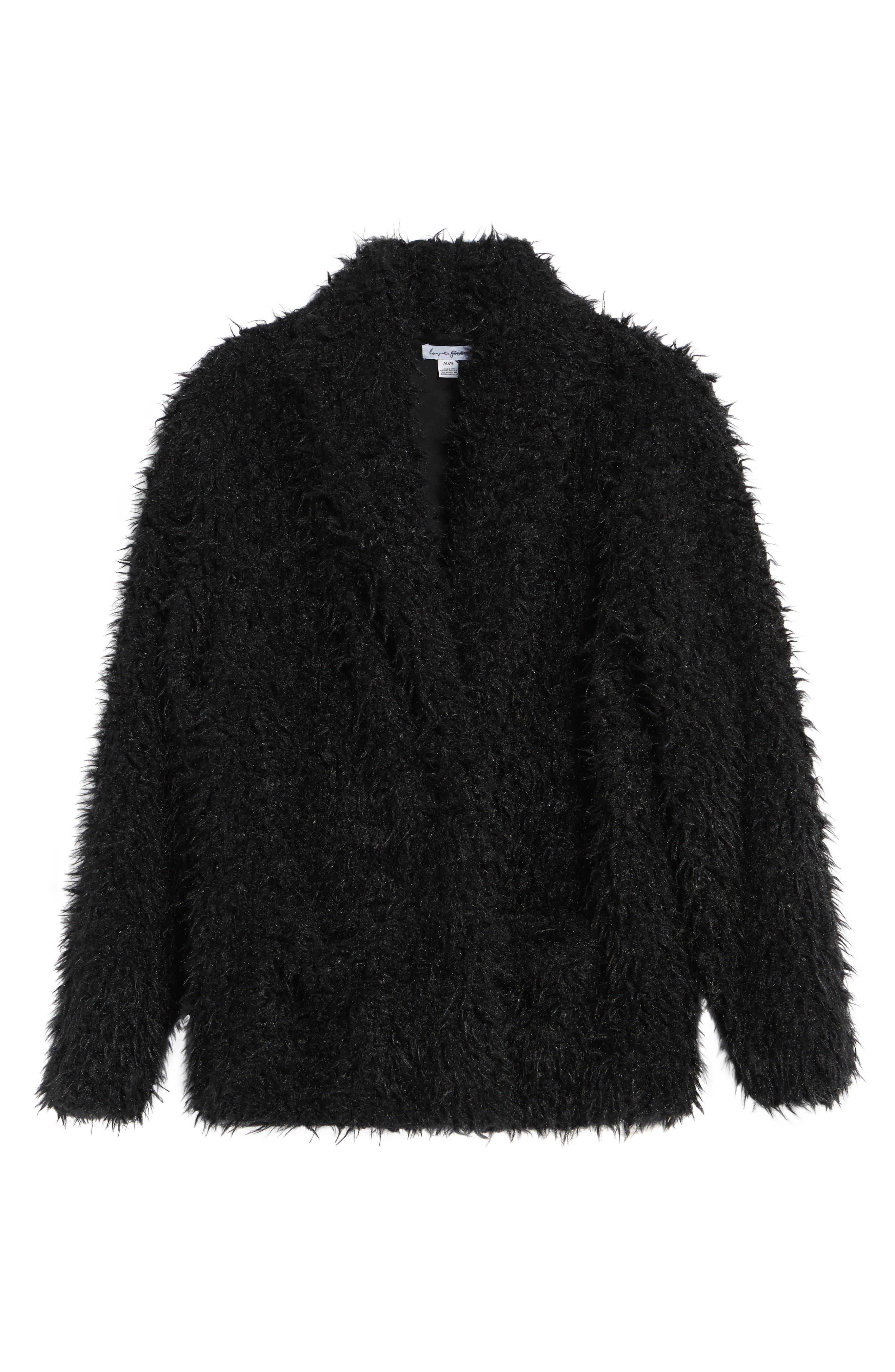 Faux Fur Jacket,                             Alternate thumbnail 5, color,                             001