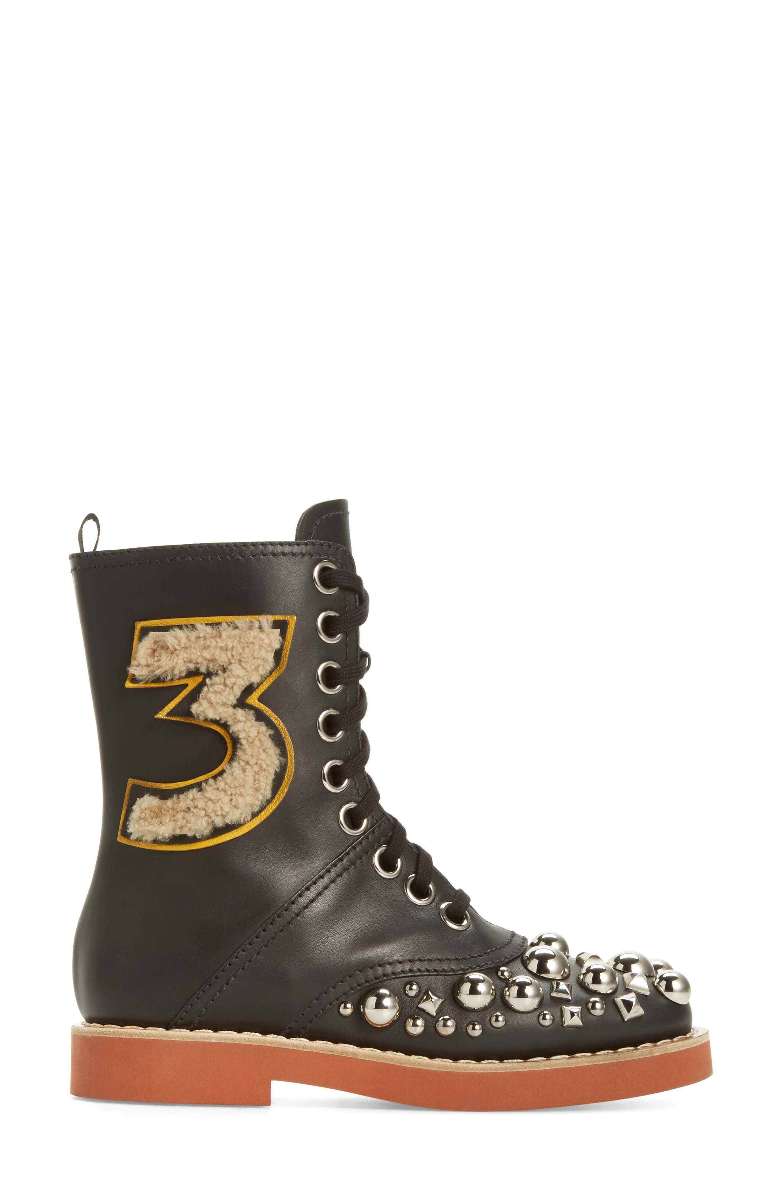 Genuine Shearling Trim Studded Lace-Up Boot,                             Alternate thumbnail 3, color,                             001