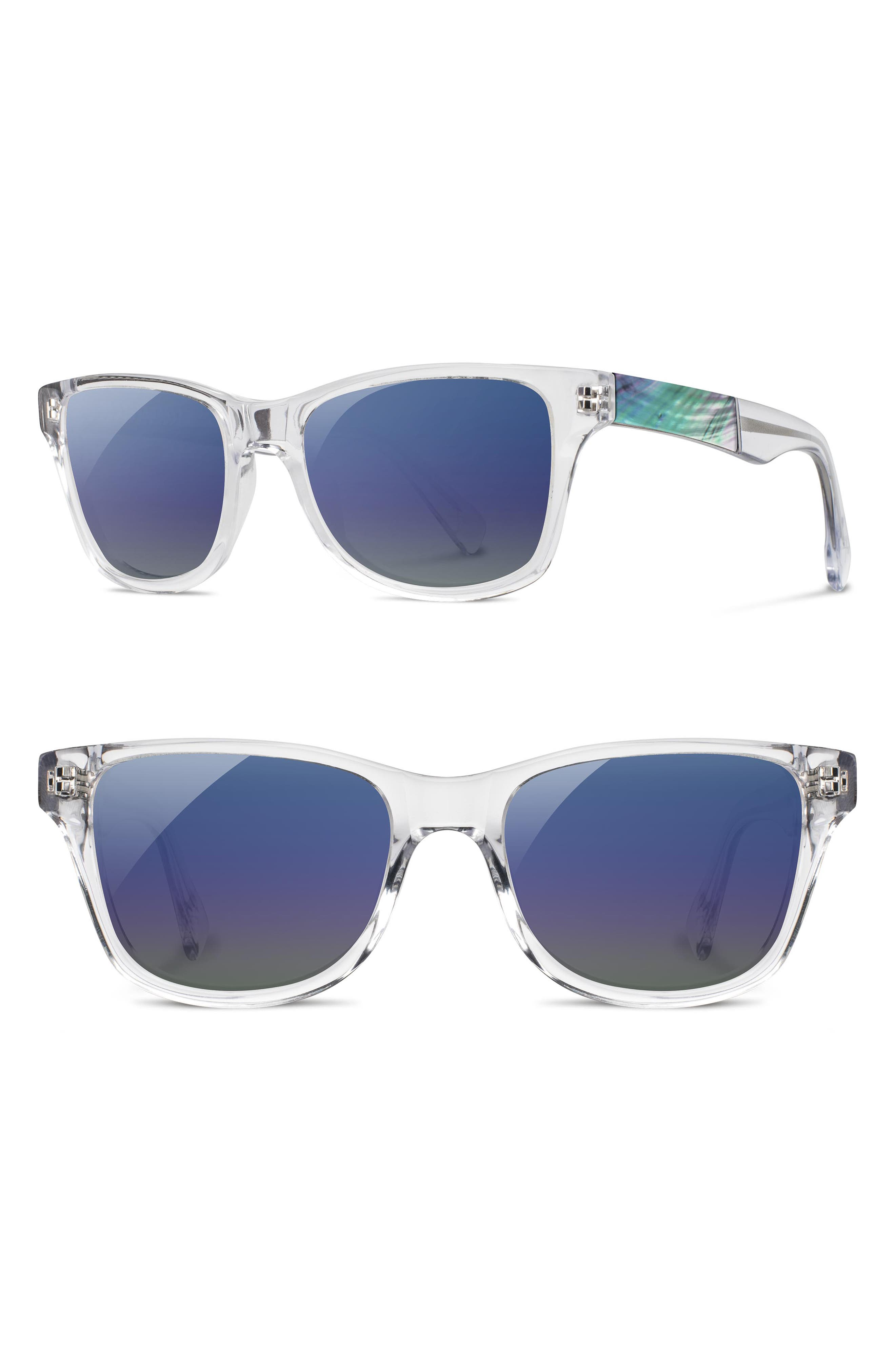 Polarized Wood Inlay Sunglasses,                         Main,                         color, CRYSTAL/ ABALONE SHELL/ BLUE