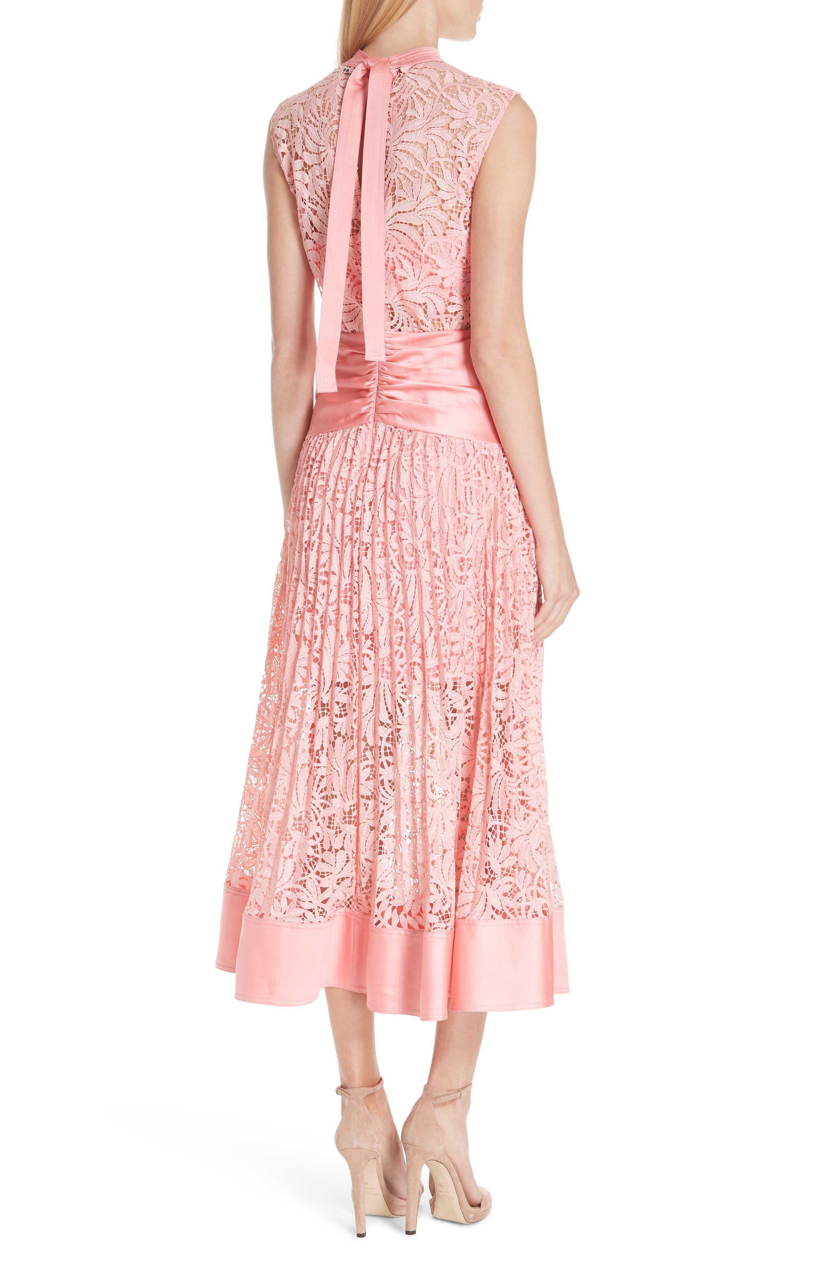 Floral Lace Sleeveless Midi Dress,                             Alternate thumbnail 2, color,                             650