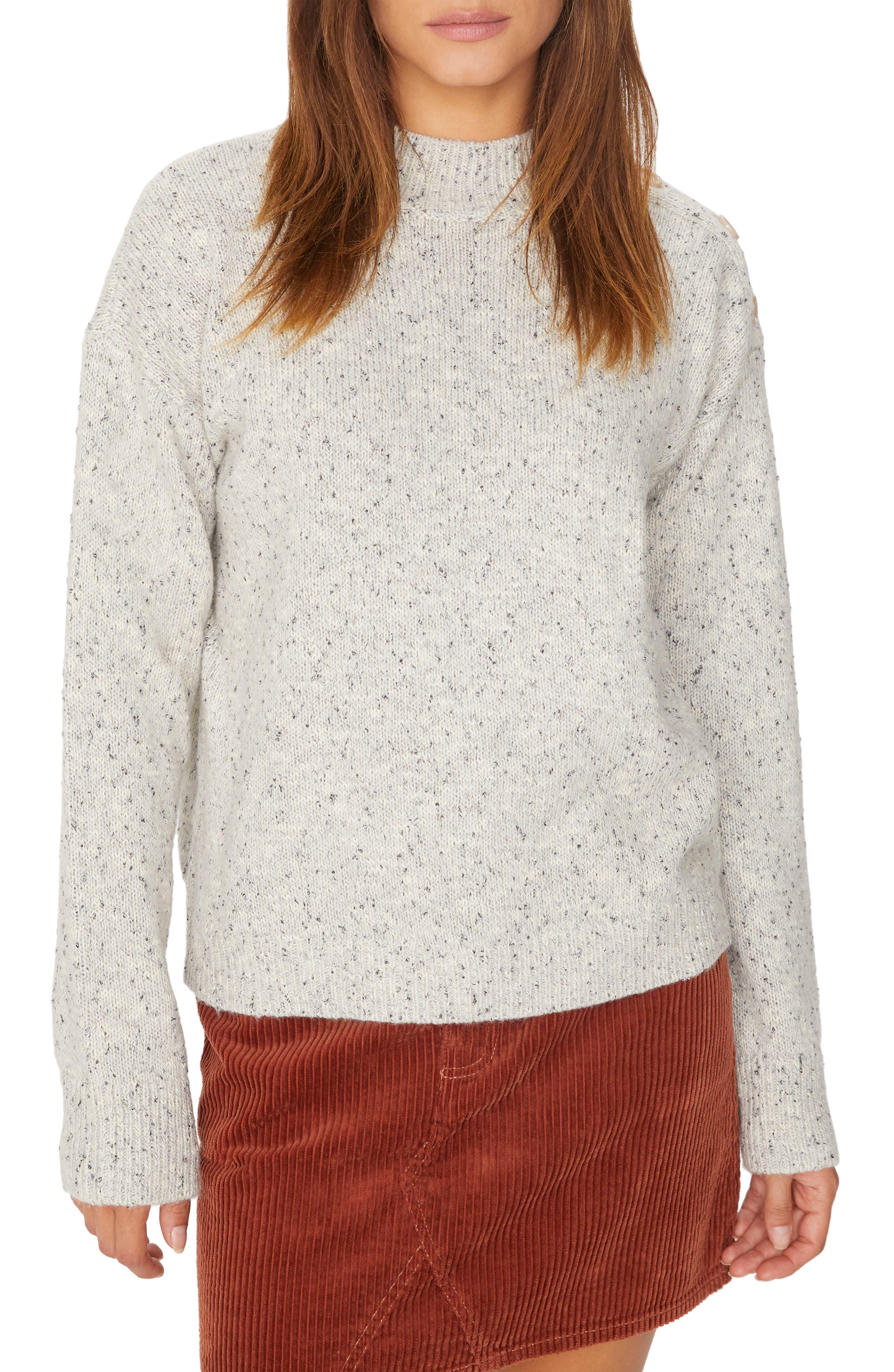 Jasper Button Detail Mock Neck Sweater,                         Main,                         color, HEATHER STERLING
