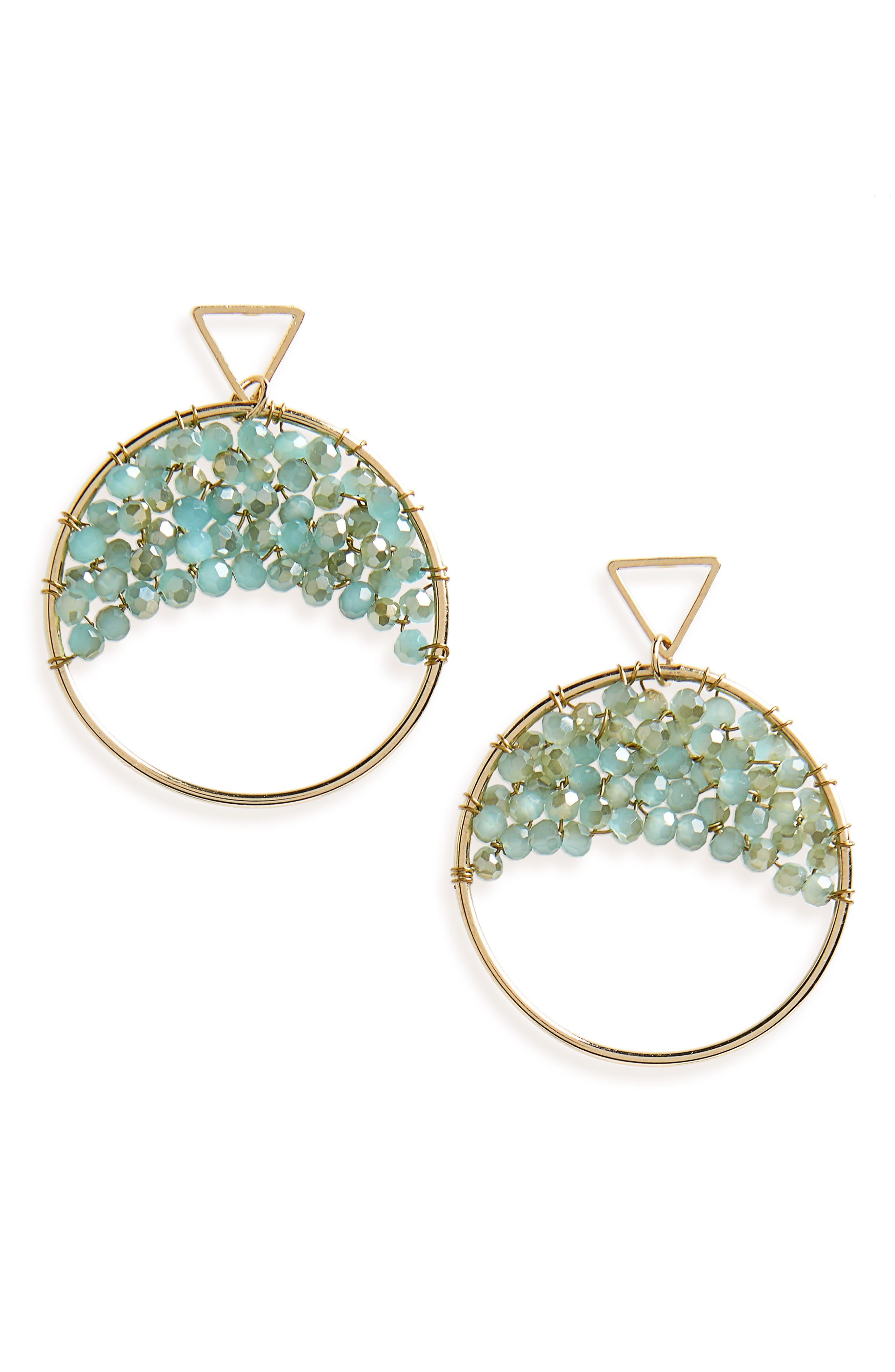 Crystal Beaded Circle Earrings,                             Main thumbnail 1, color,                             MINT