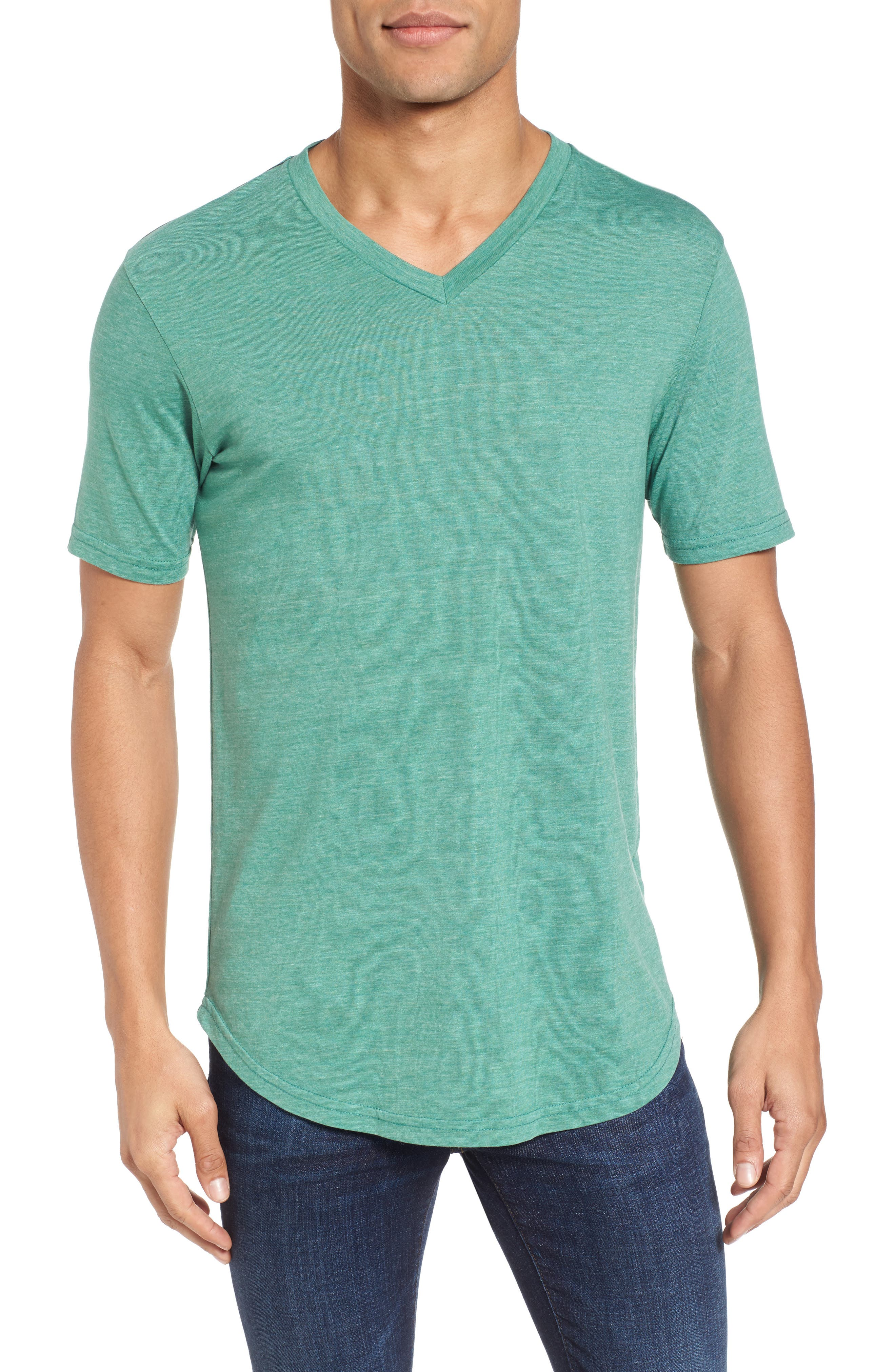 Scallop Triblend V-Neck T-Shirt,                             Main thumbnail 6, color,