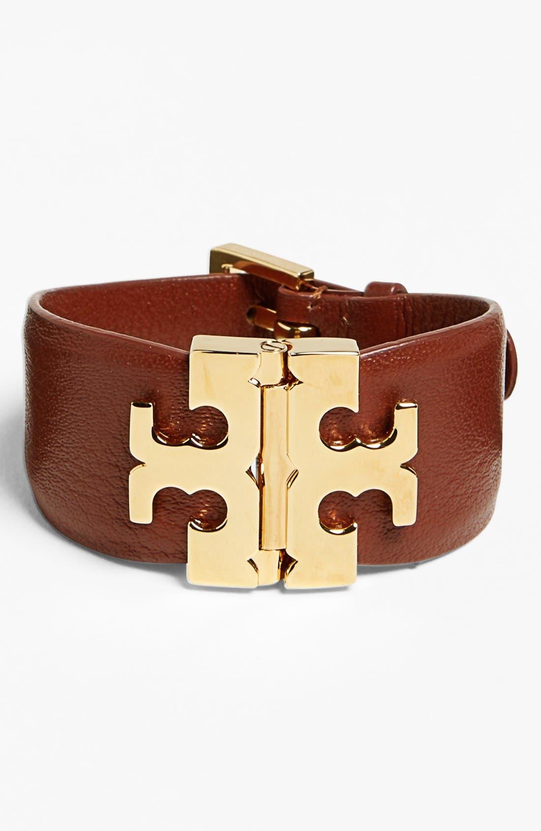 Wide T-Hinge Leather Bracelet,                             Main thumbnail 2, color,