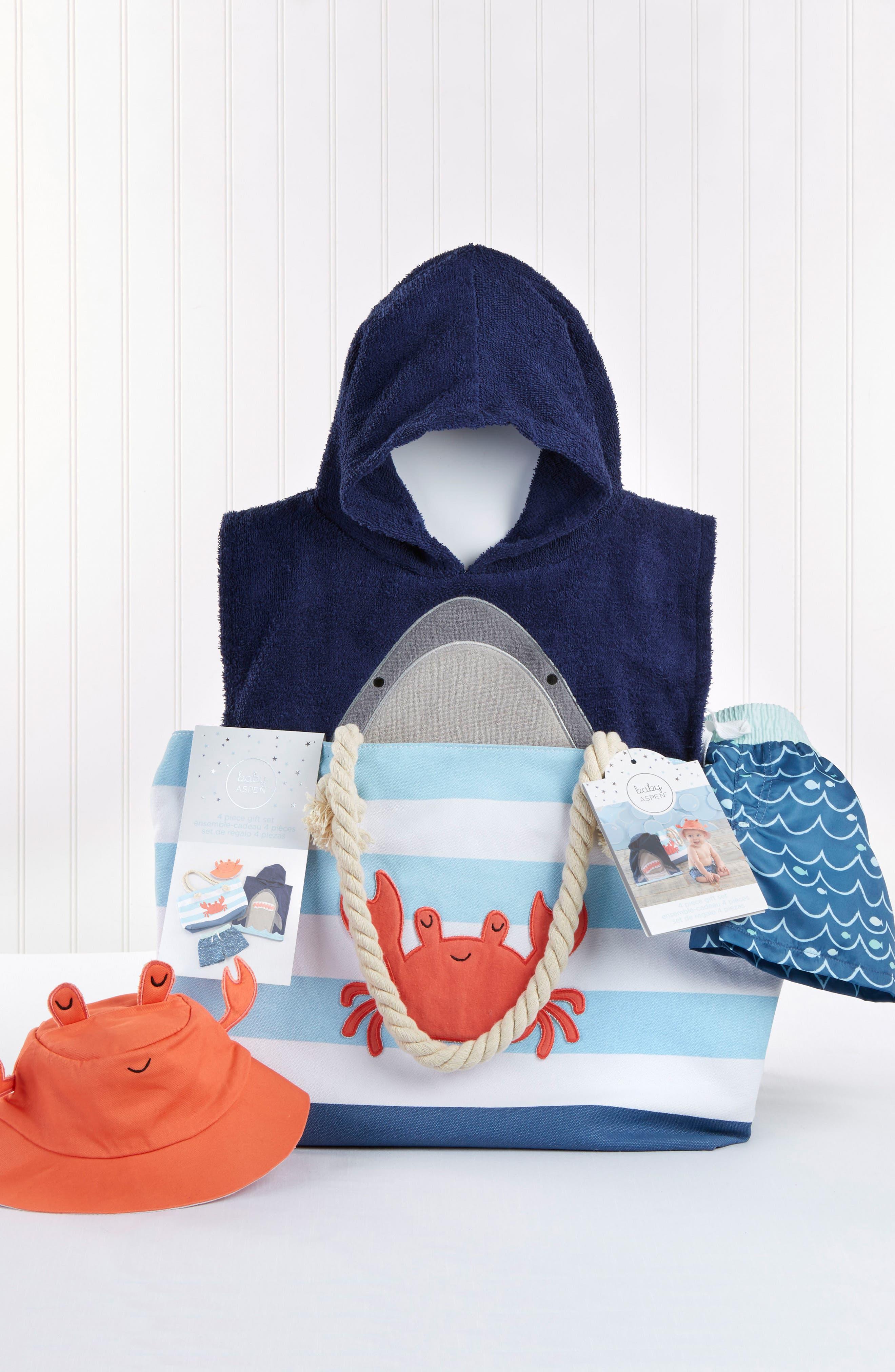 BABY ASPEN,                             Shark Hooded Towel, Swim Trunks, Sun Hat & Tote Set,                             Alternate thumbnail 2, color,                             BLUE