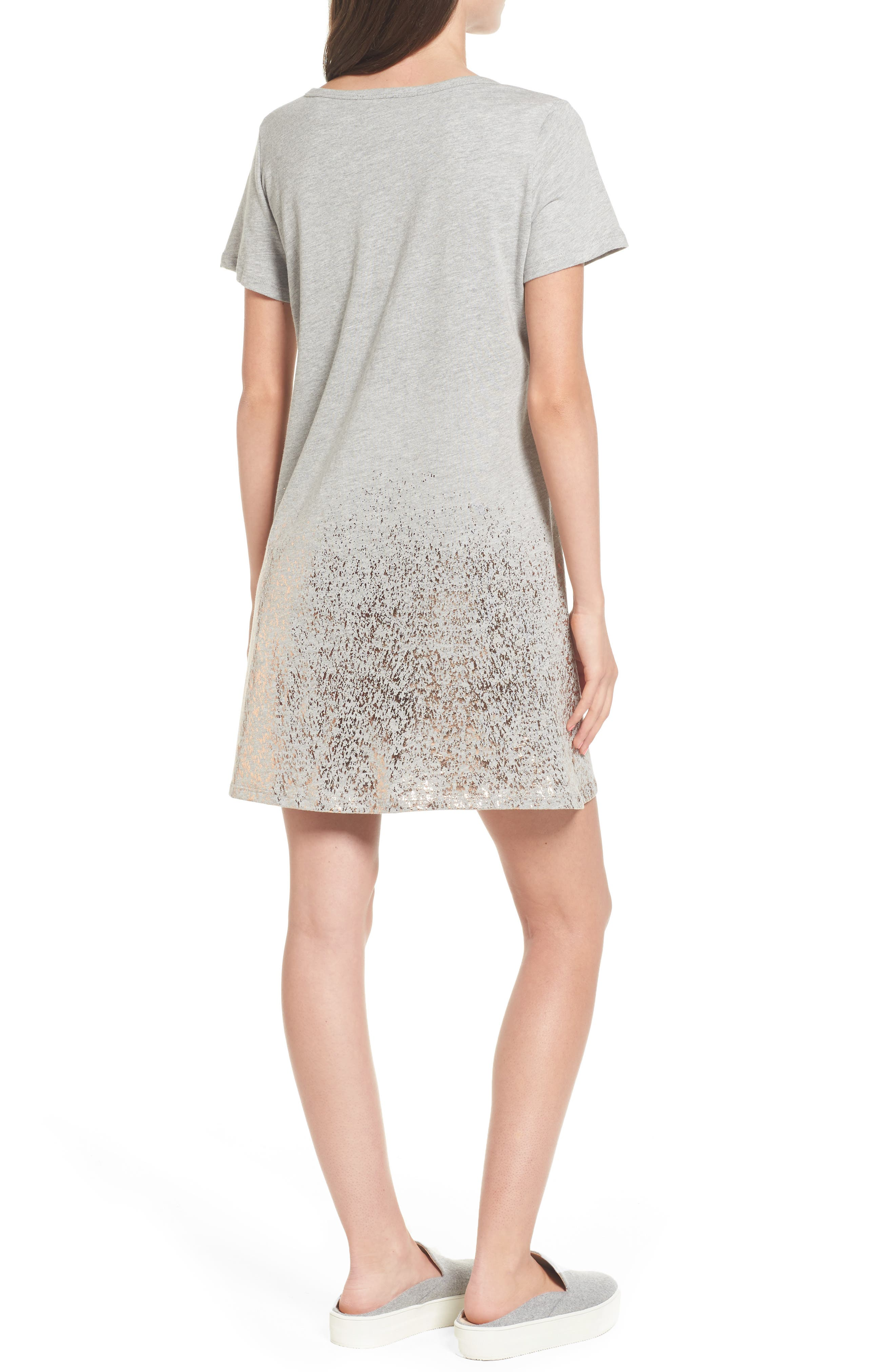 Foil Detail T-Shirt Dress,                             Alternate thumbnail 5, color,