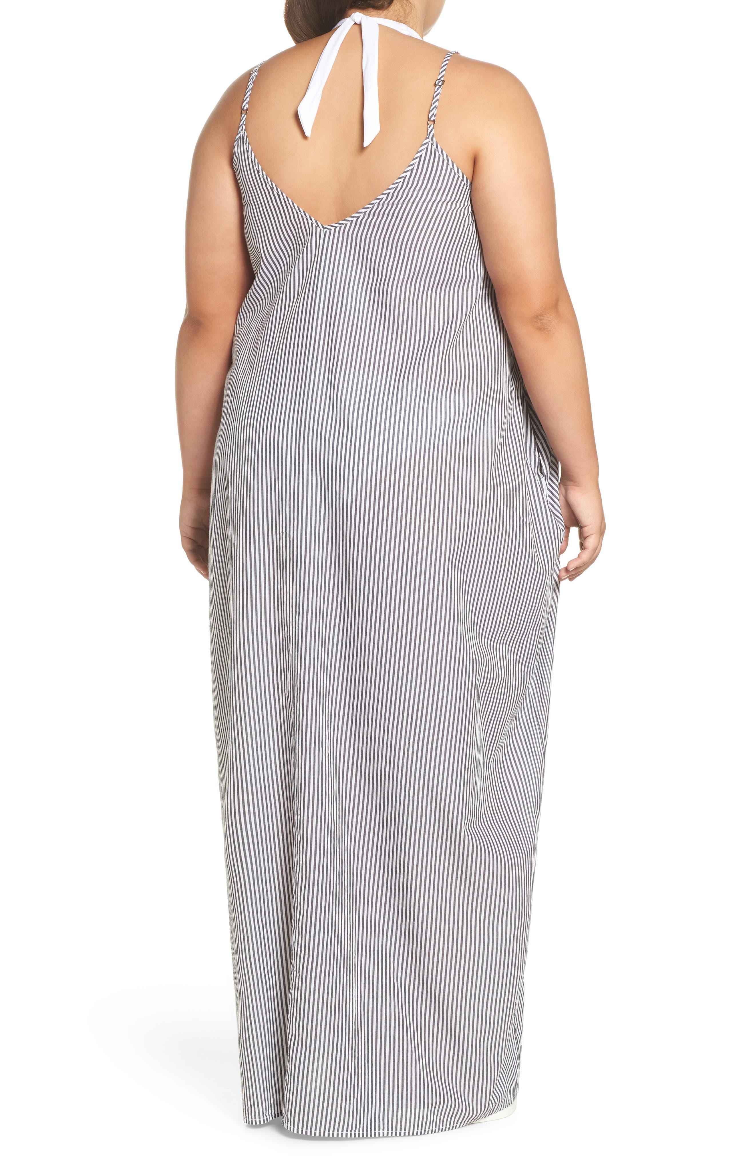 Cover-Up Maxi Dress,                             Alternate thumbnail 2, color,                             BLACK/ WHITE