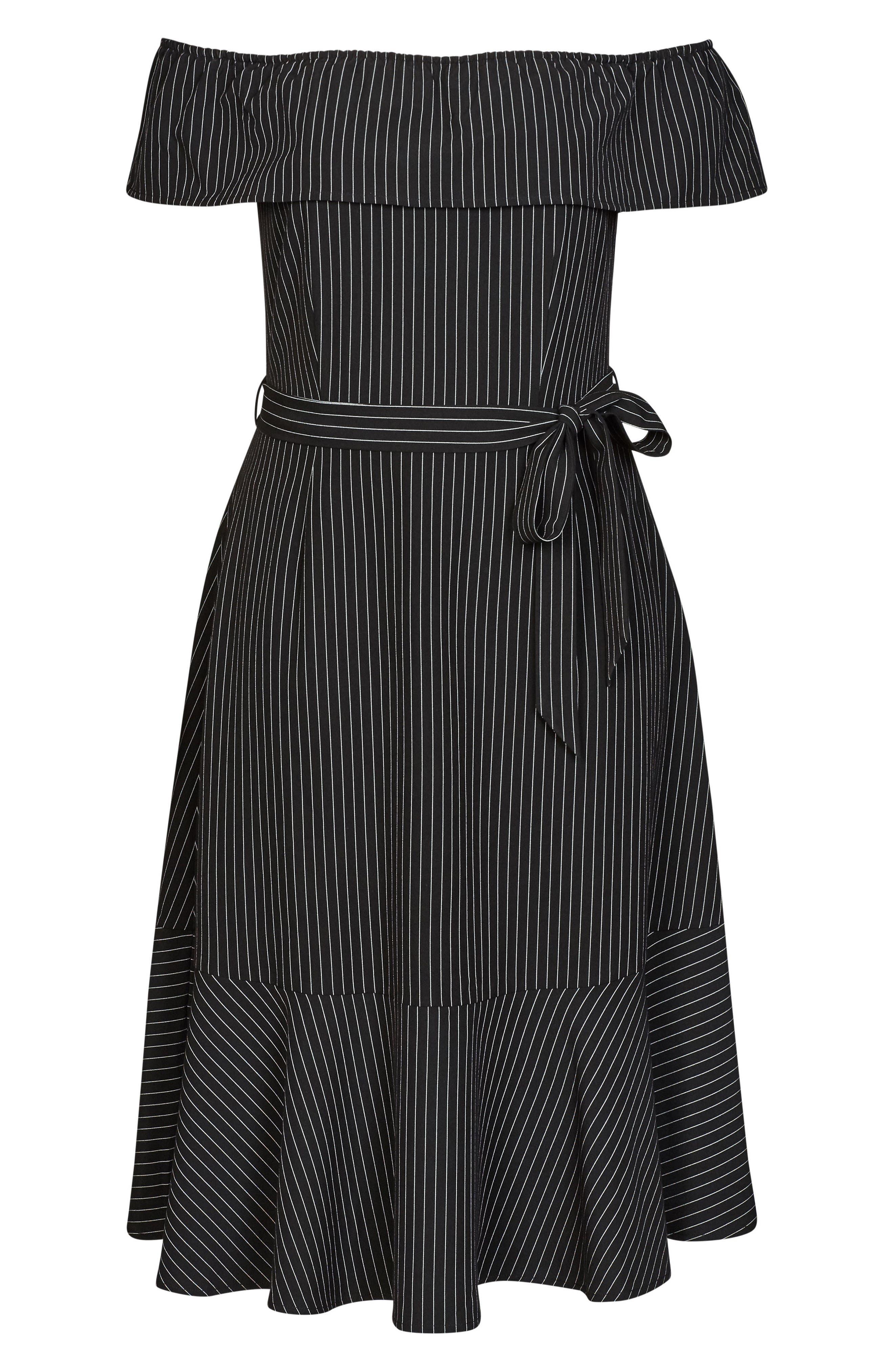 CITY CHIC,                             Midi Madame Stripe Off the Shoulder Dress,                             Alternate thumbnail 3, color,                             BLACK