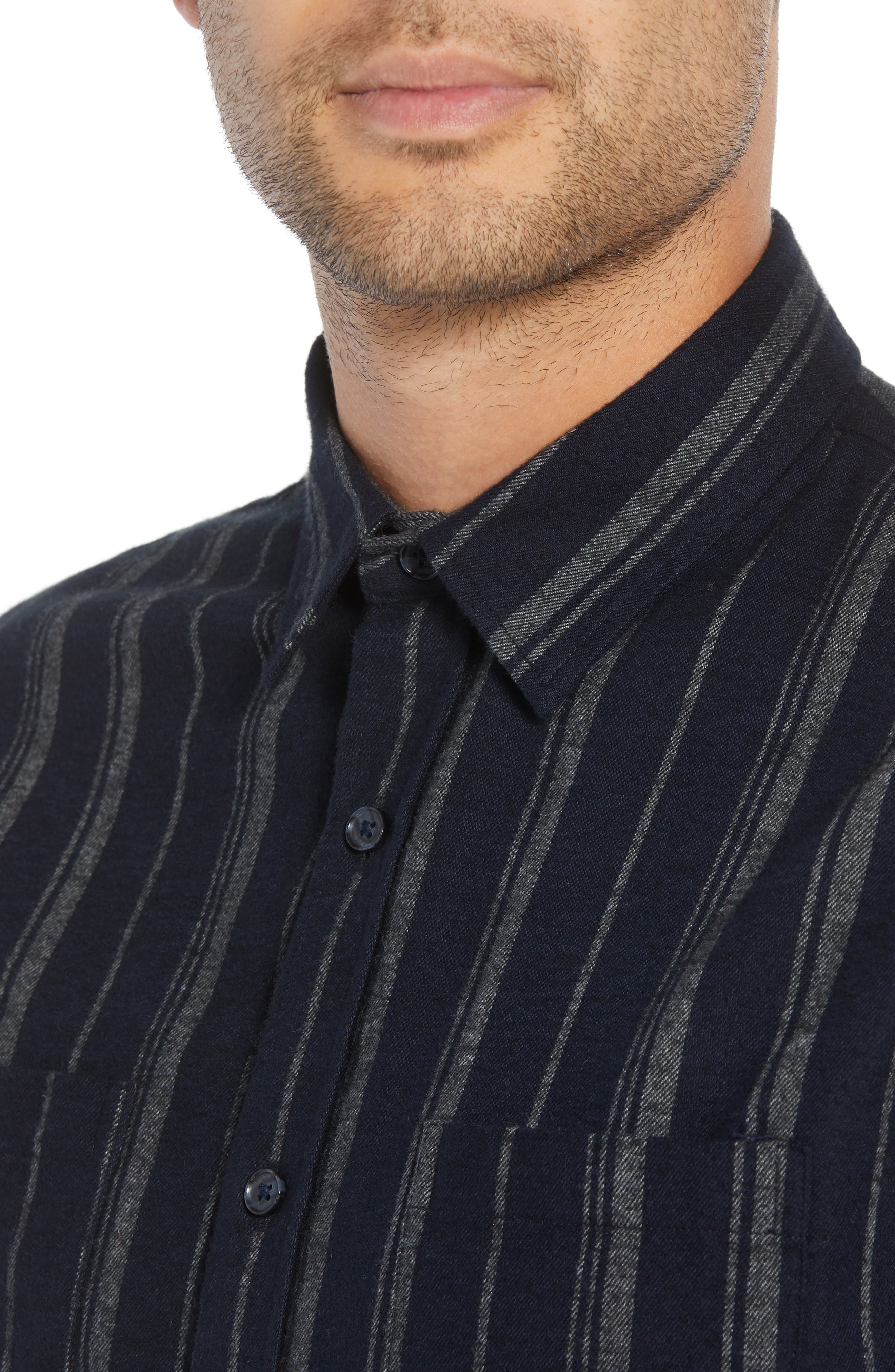 Stripe Flannel Shirt,                             Alternate thumbnail 2, color,                             COASTAL