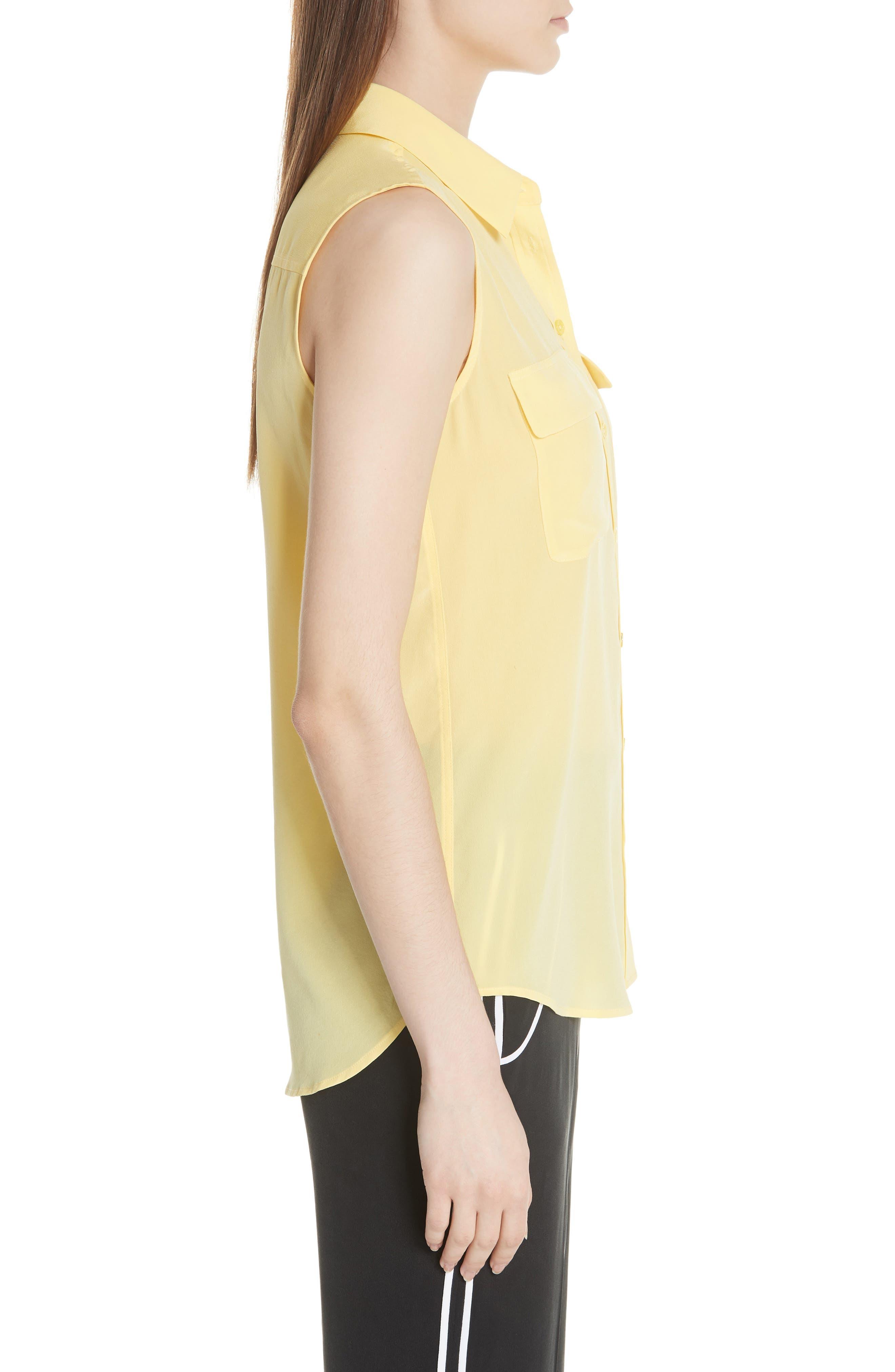'Slim Signature' Sleeveless Silk Shirt,                             Alternate thumbnail 101, color,
