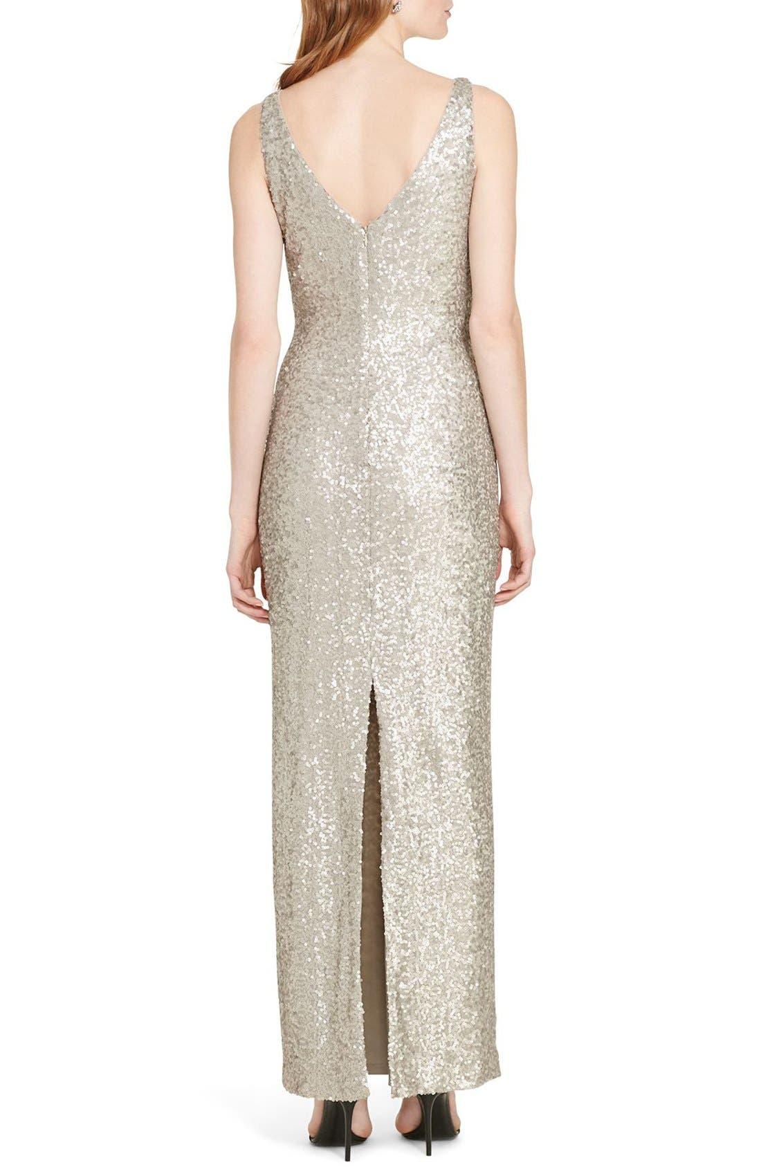 Sequin Mesh Gown,                             Alternate thumbnail 2, color,                             040