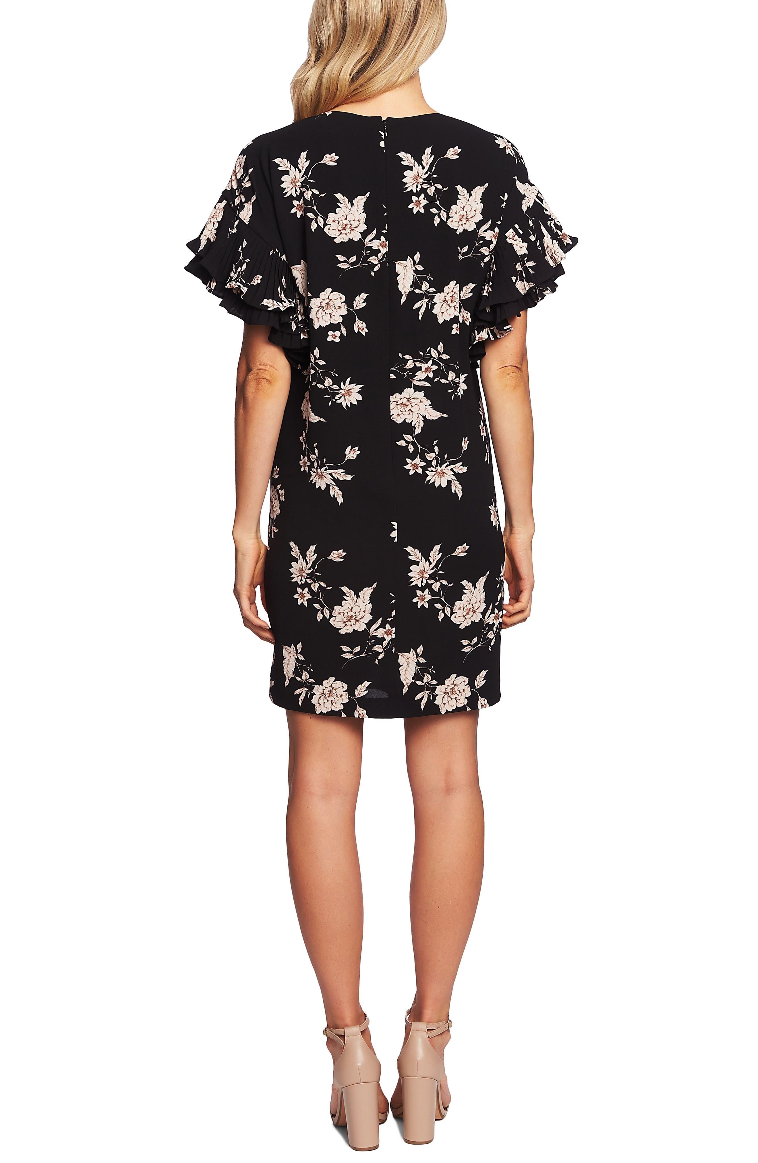CECE,                             Etched Floral Shift Dress,                             Alternate thumbnail 2, color,                             RICH BLACK