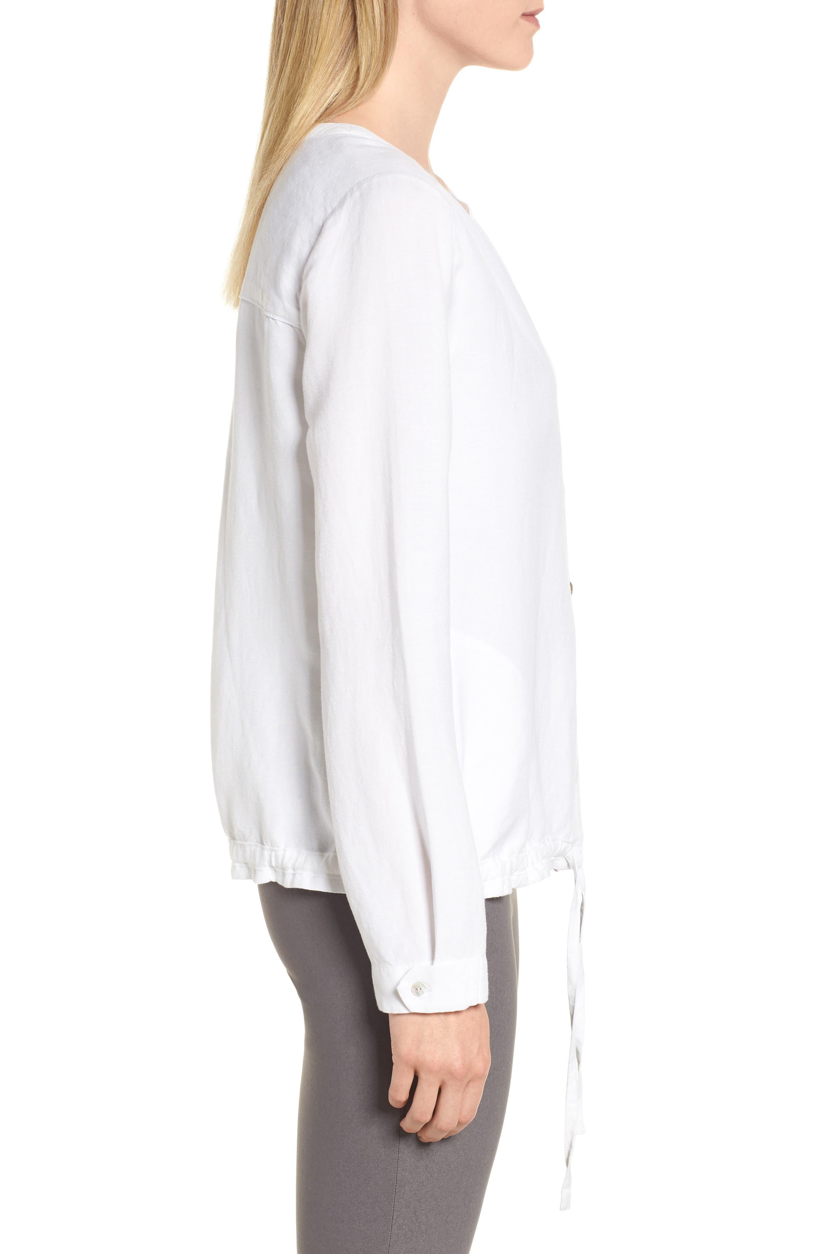 Homebound Linen Blend Drawstring Jacket,                             Alternate thumbnail 3, color,                             PAPER WHITE
