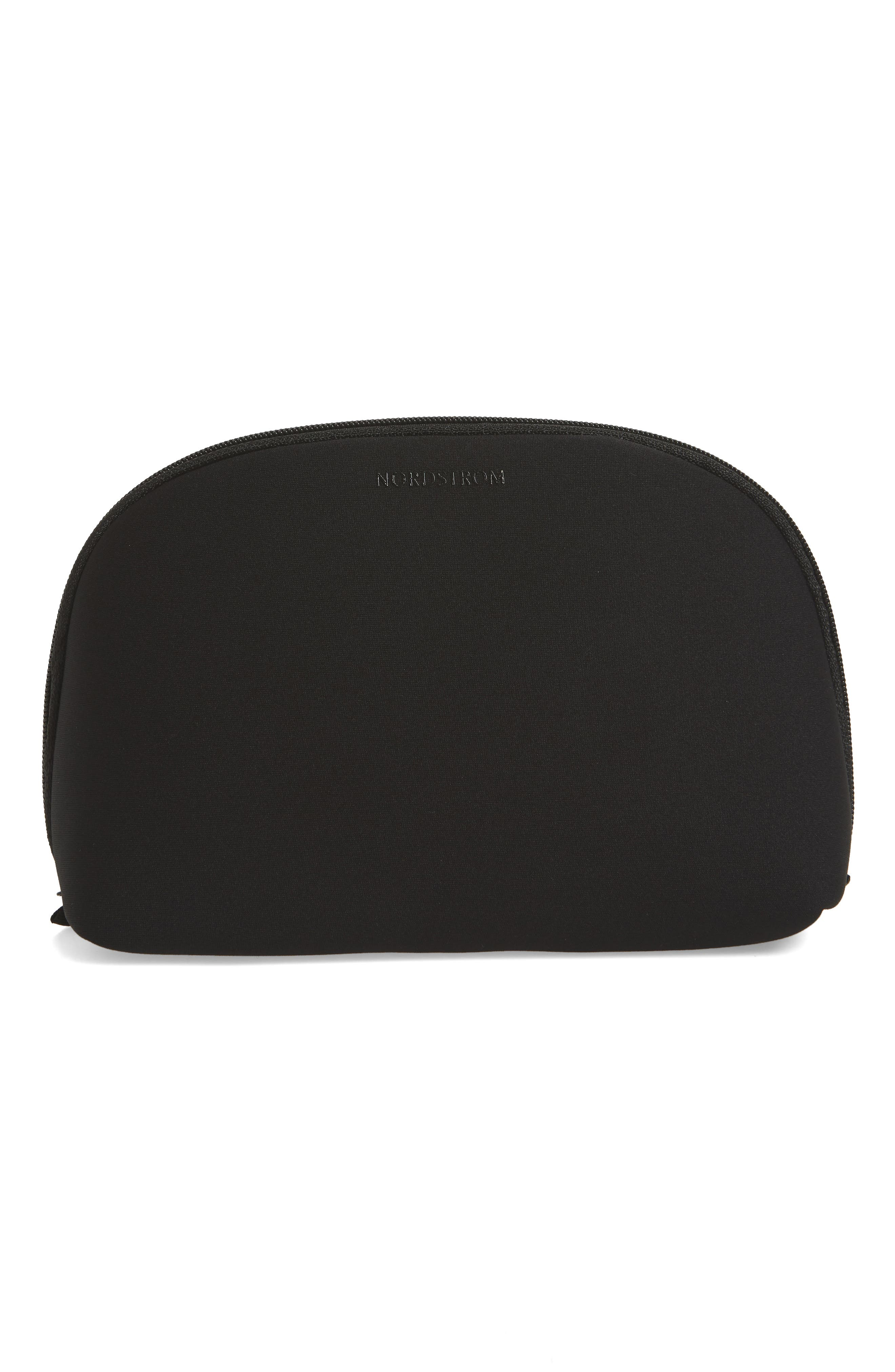 Curved Cosmetic Bag,                             Main thumbnail 1, color,                             BLACK