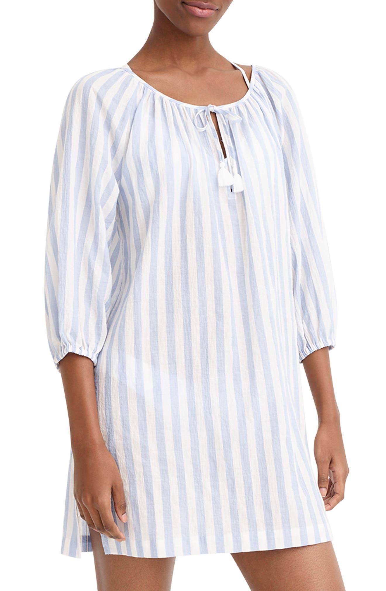 Stripe Tassel Tie Beach Tunic, Main, color, PERI IVORY