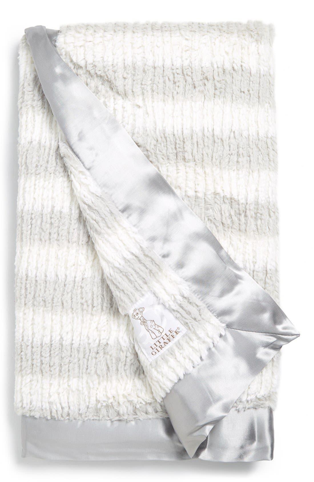 LITTLE GIRAFFE,                             'Luxe Rib Stripe<sup>™</sup>' Baby Blanket,                             Main thumbnail 1, color,                             SILVER