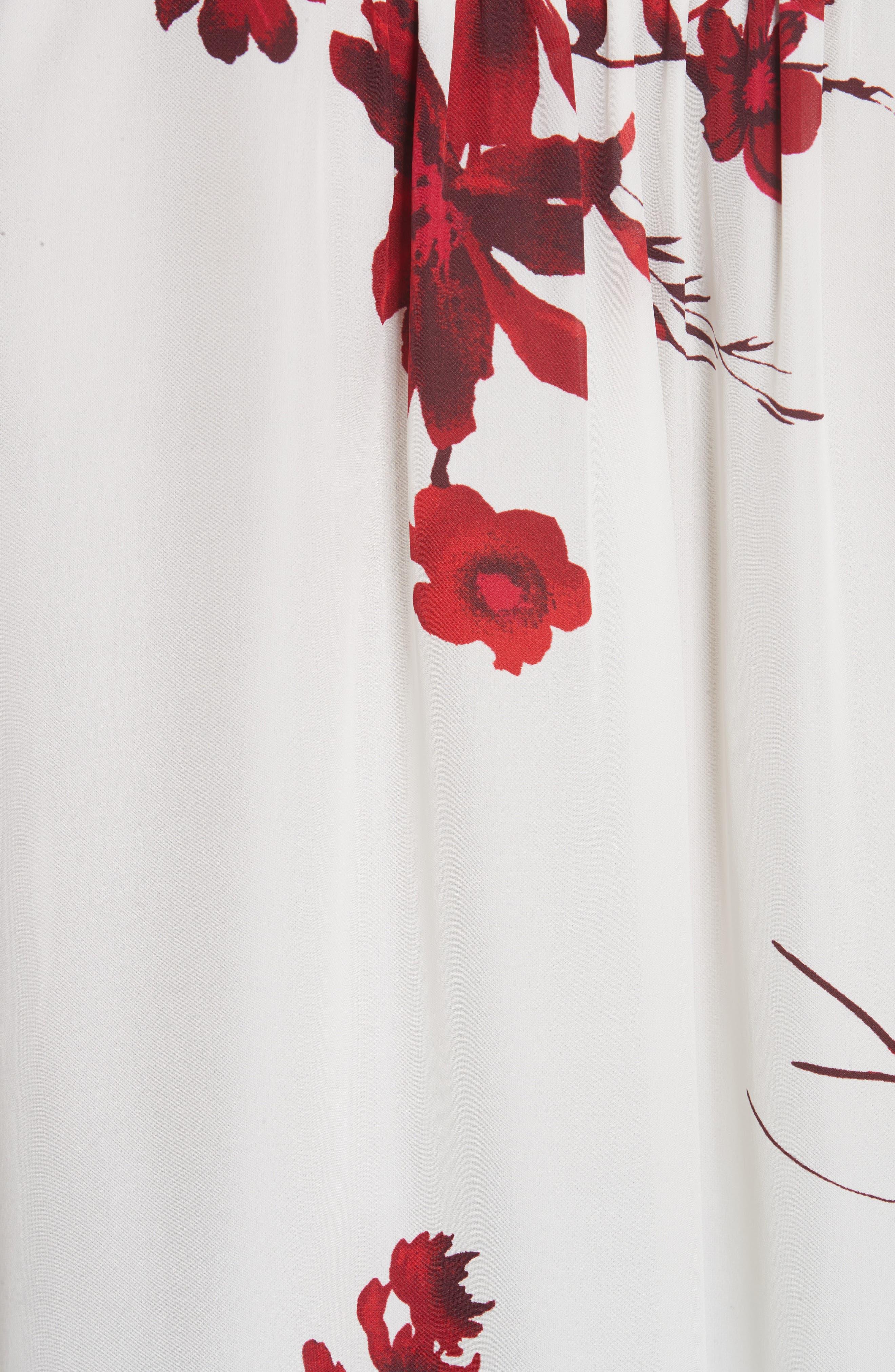 Angeletta Tie Neck Floral Silk Blouse,                             Alternate thumbnail 5, color,                             110