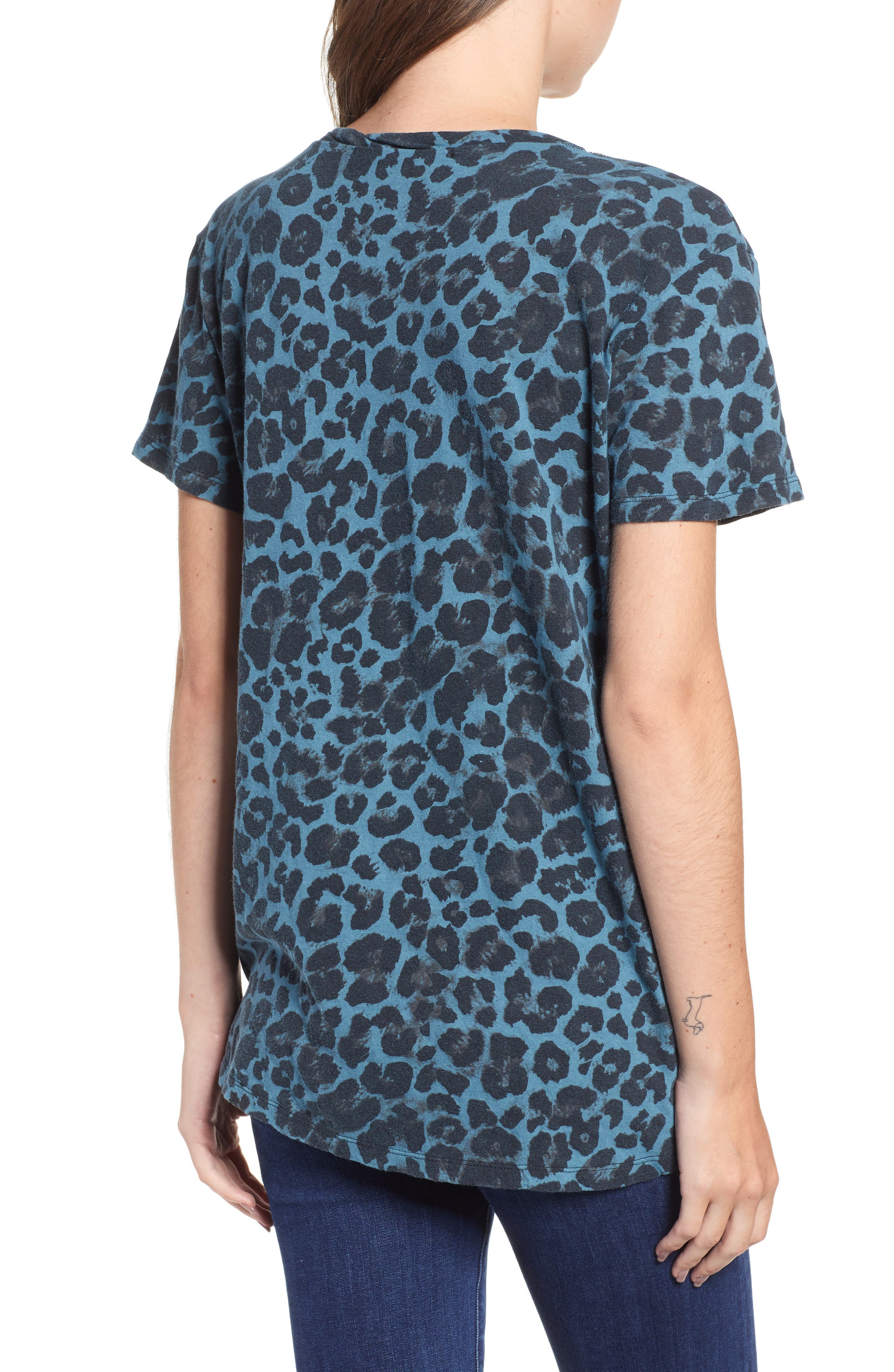 Leopard Print Cutout Tee,                             Alternate thumbnail 2, color,                             BLUE LEOPARD PRINT