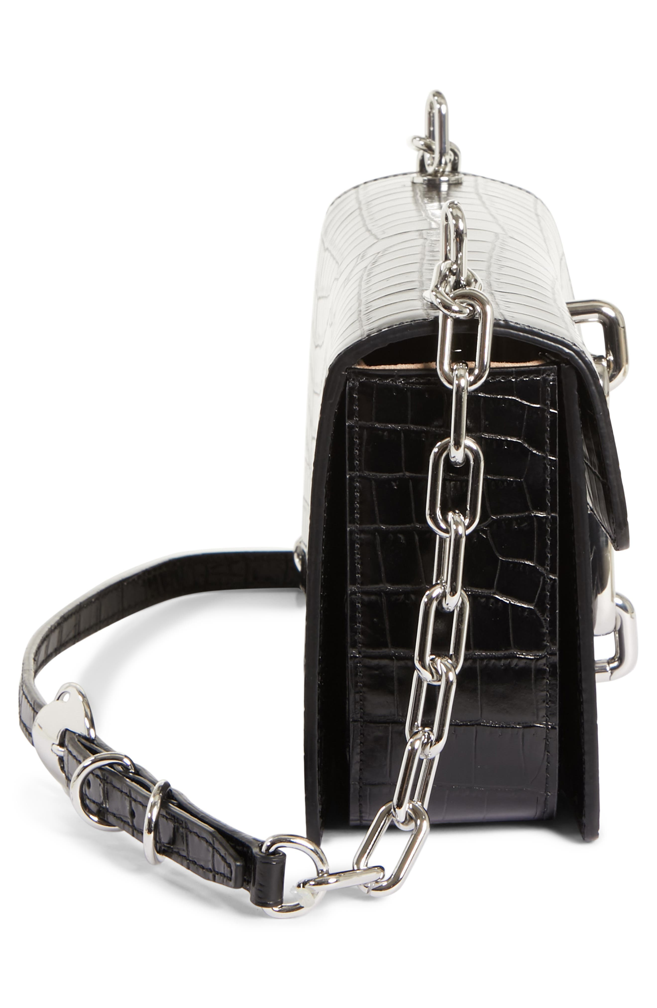 Hook Medium Leather Shoulder/Crossbody Bag,                             Alternate thumbnail 5, color,                             001