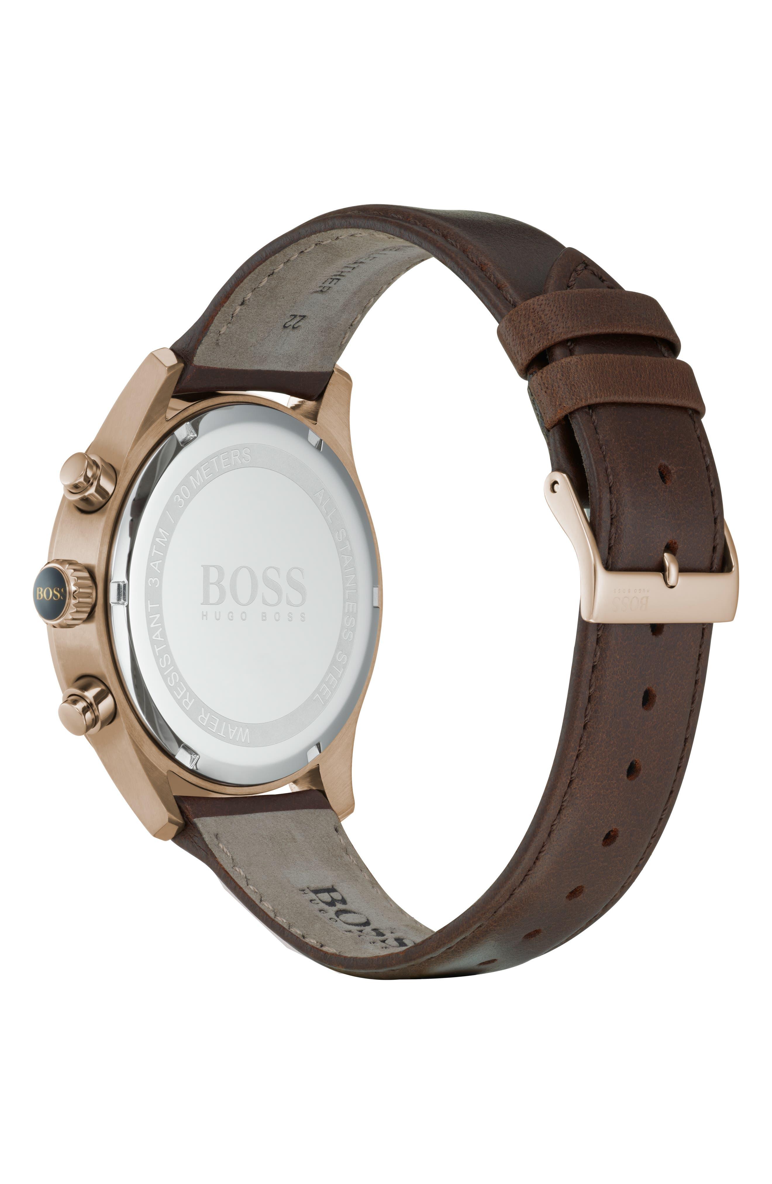 Grand Prix Chronograph Leather Strap Watch, 44mm,                             Alternate thumbnail 2, color,                             BLUE