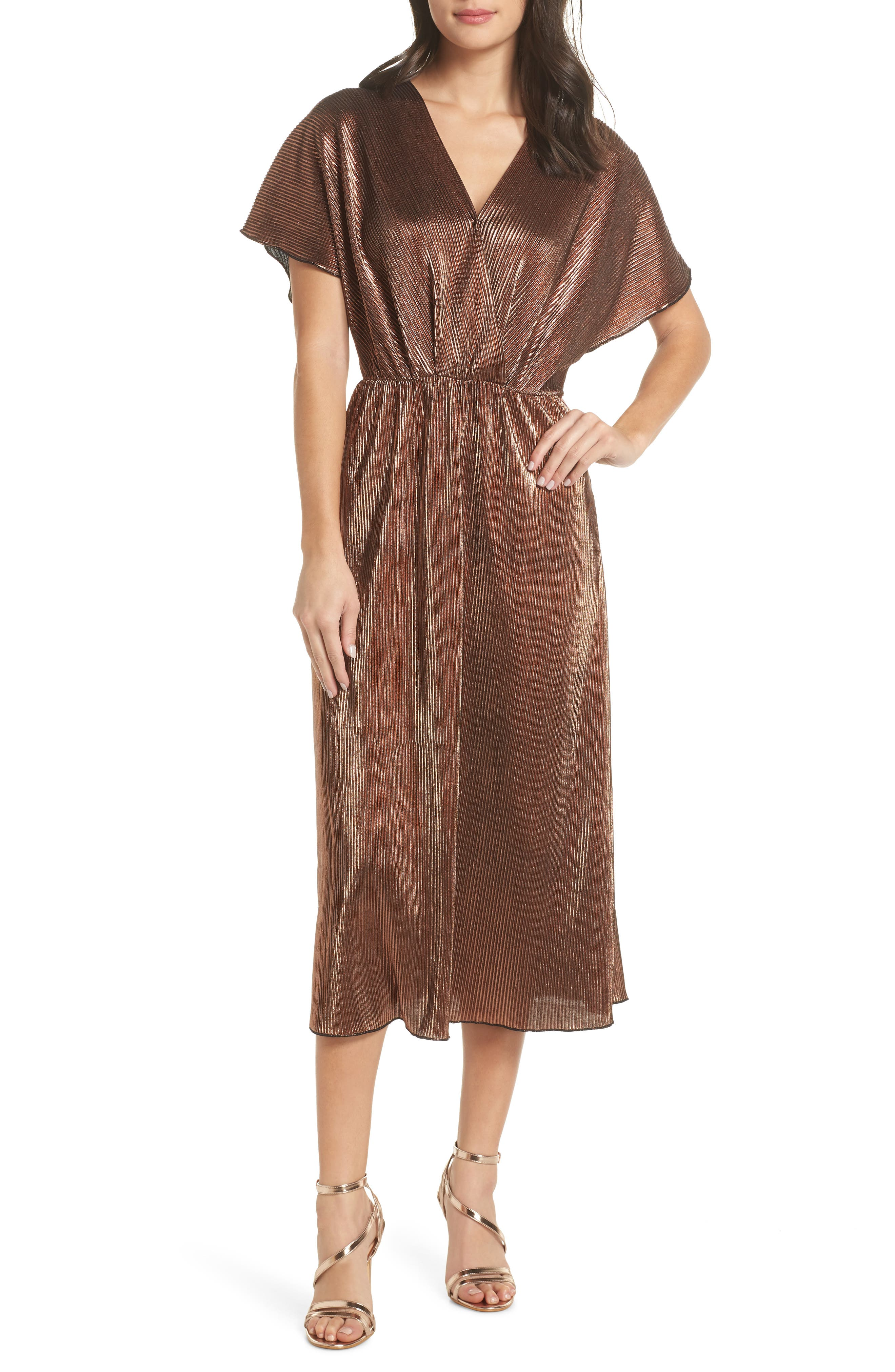 CHARLES HENRY Crossover Midi Dress in Bronze