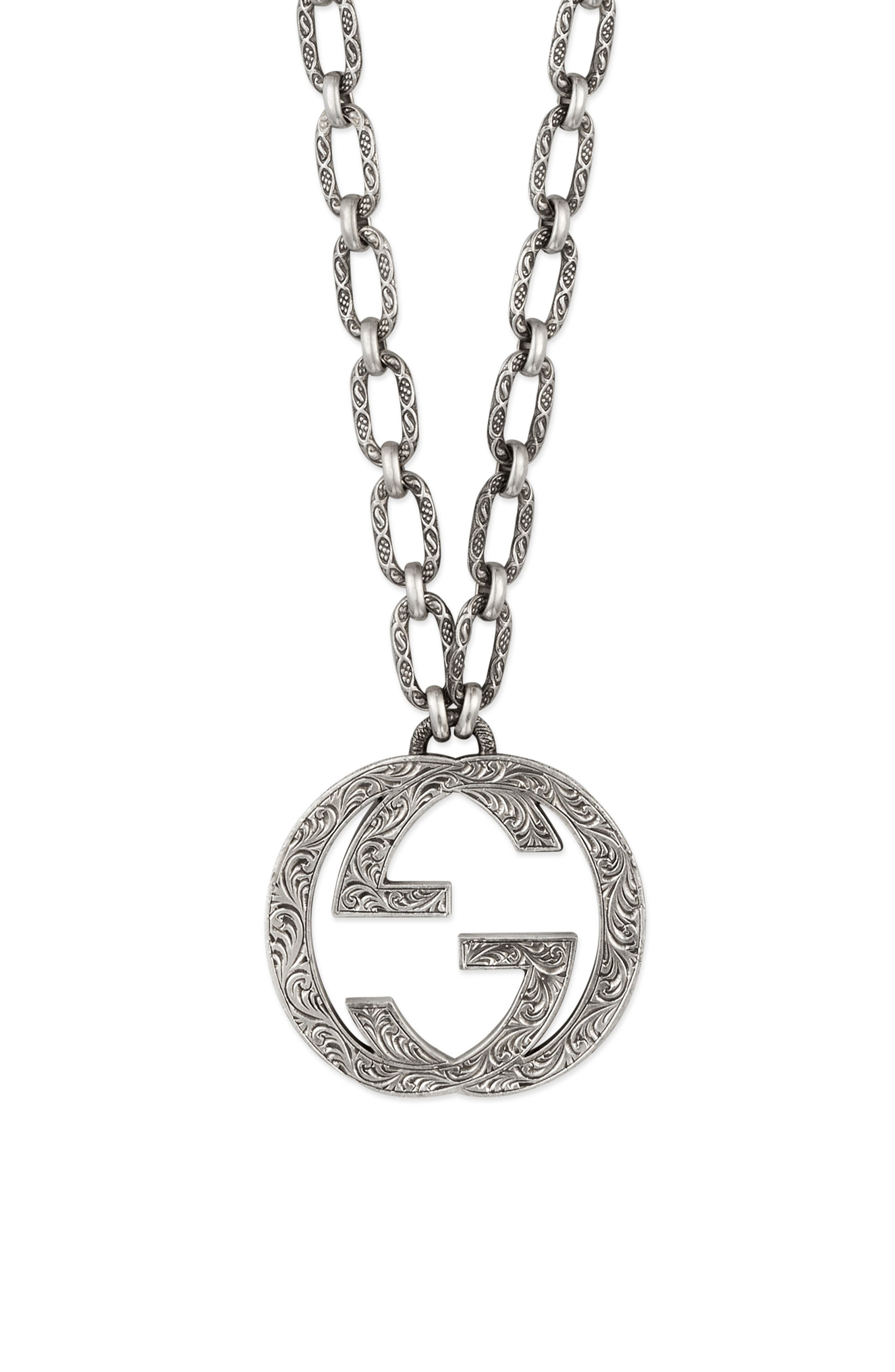 GG Logo Pendant Necklace,                             Main thumbnail 1, color,                             STERLING SILVER