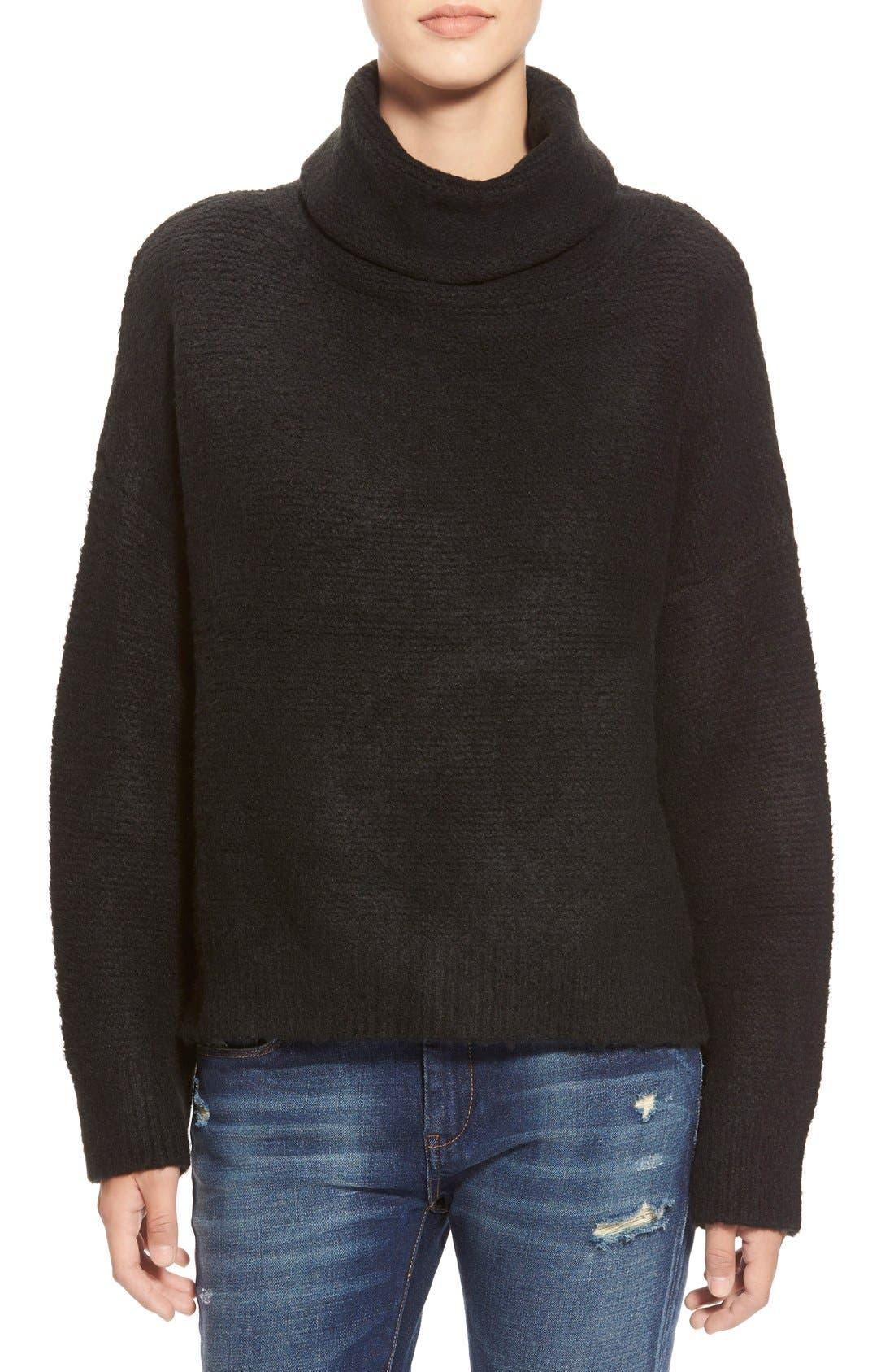 Boxy Turtleneck Sweater,                             Main thumbnail 1, color,                             001