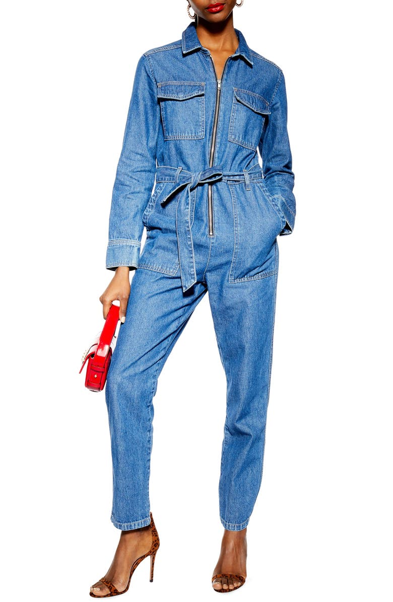 TOPSHOP Denim Utility Boilersuit, Main, color, MID DENIM