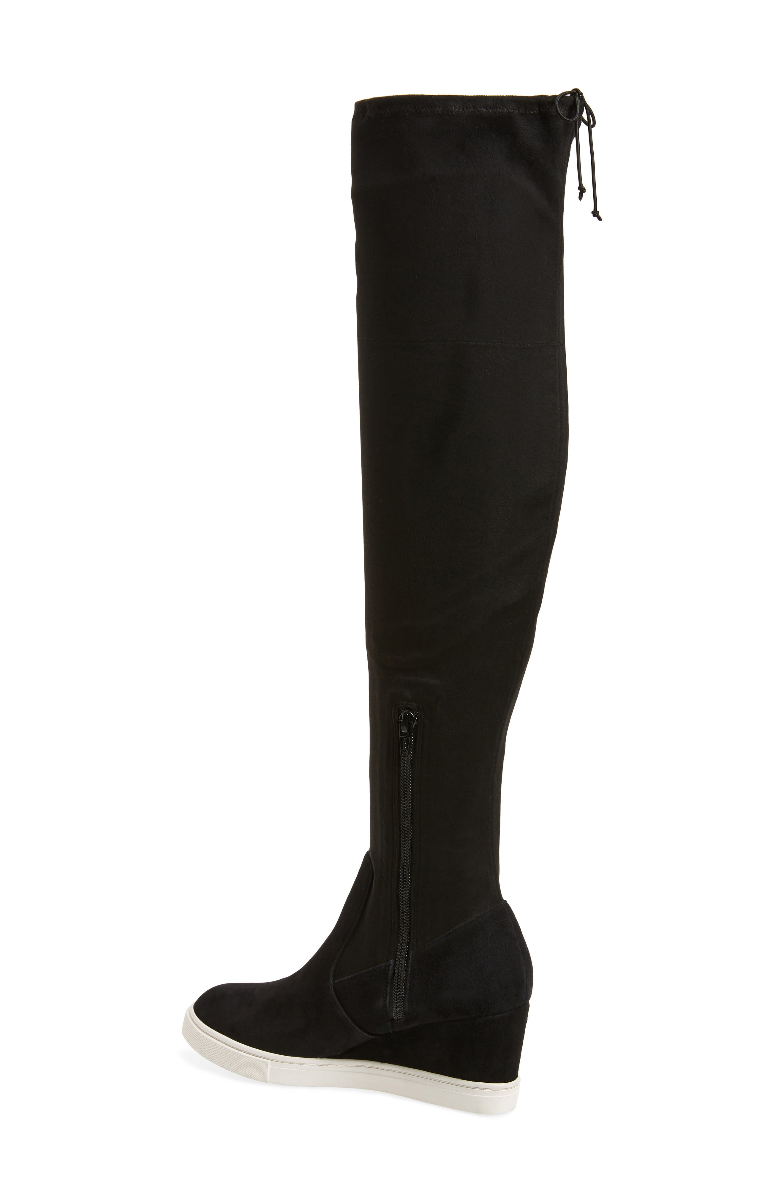 Thea Over the Knee Boot,                             Alternate thumbnail 2, color,                             BLACK EMBROIDERY FABRIC